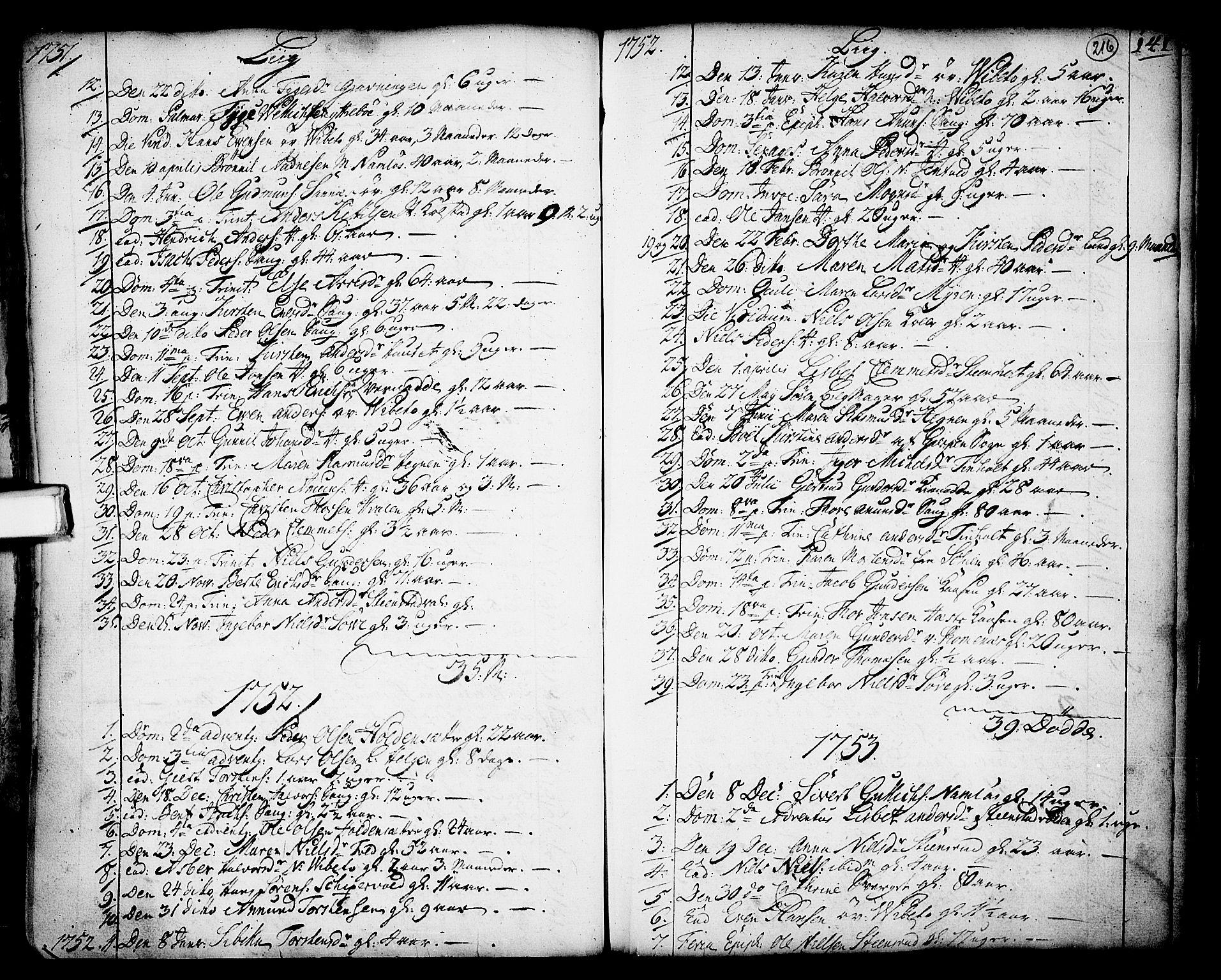 SAKO, Holla kirkebøker, F/Fa/L0001: Ministerialbok nr. 1, 1717-1779, s. 216