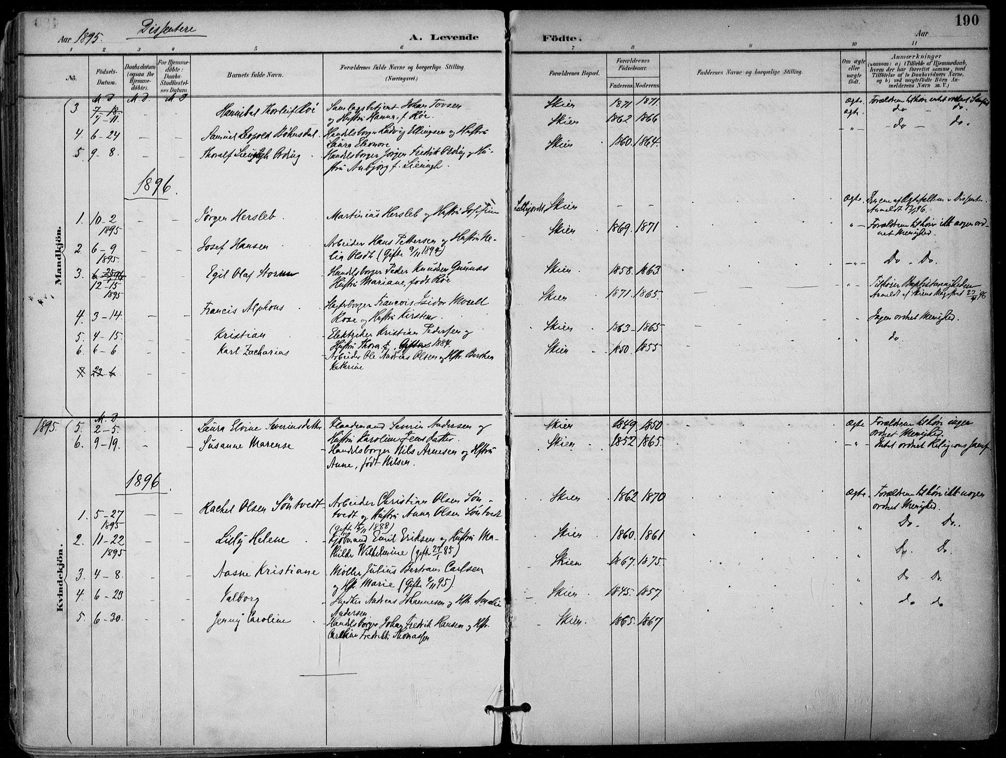 SAKO, Skien kirkebøker, F/Fa/L0010: Ministerialbok nr. 10, 1891-1899, s. 190
