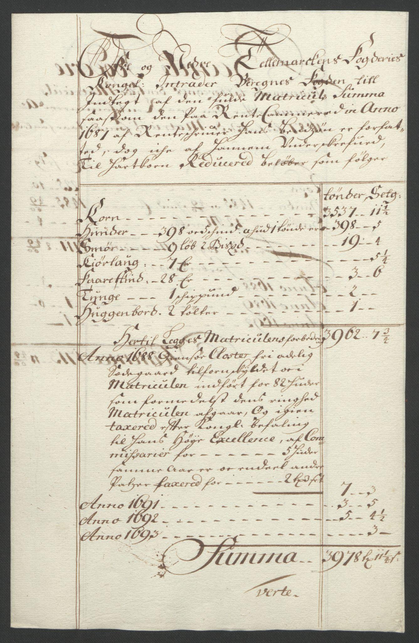 RA, Rentekammeret inntil 1814, Reviderte regnskaper, Fogderegnskap, R35/L2091: Fogderegnskap Øvre og Nedre Telemark, 1690-1693, s. 274