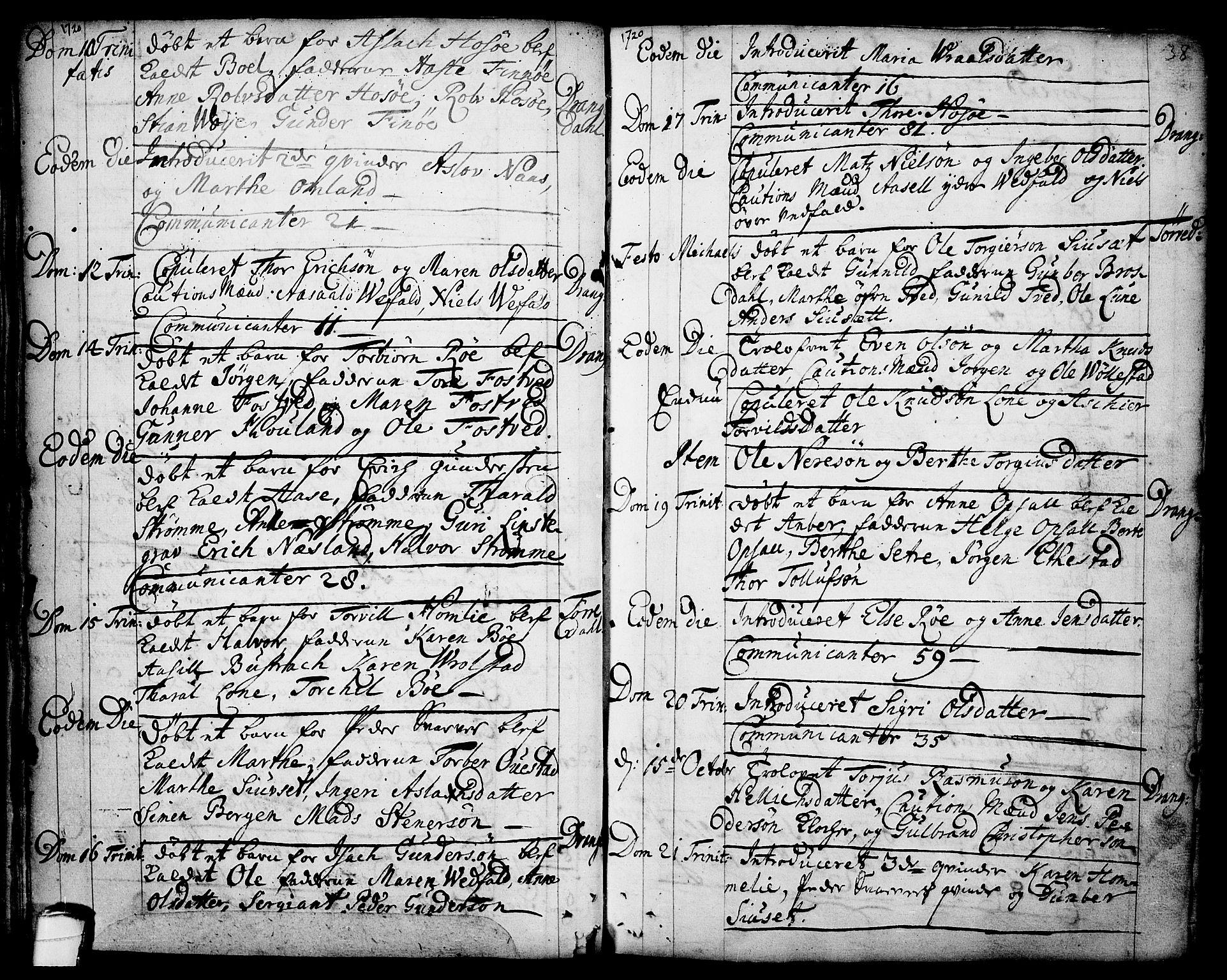 SAKO, Drangedal kirkebøker, F/Fa/L0001: Ministerialbok nr. 1, 1697-1767, s. 38
