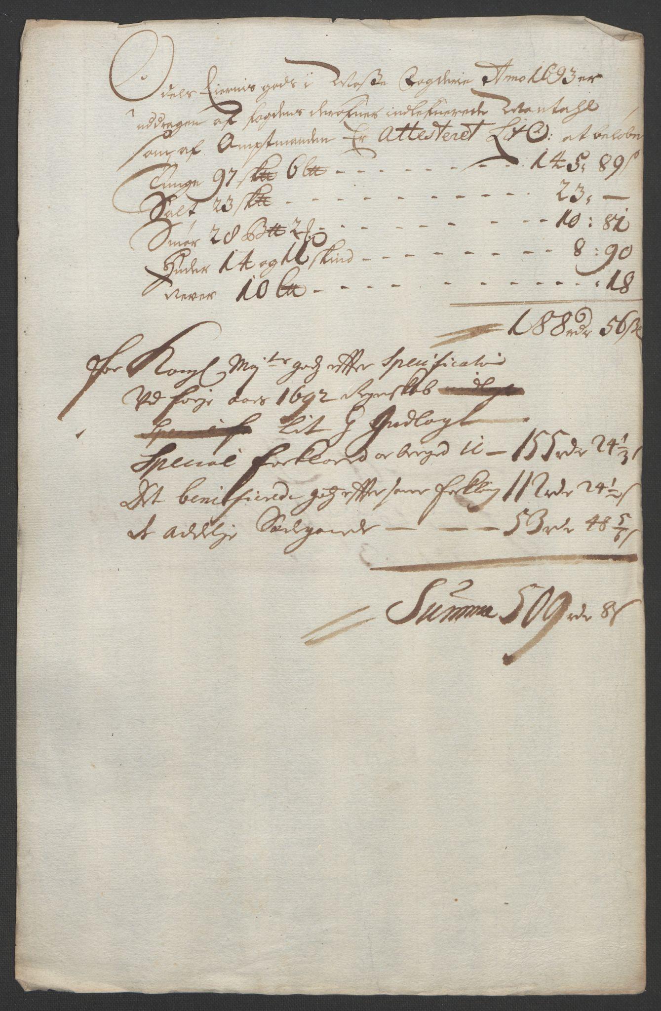 RA, Rentekammeret inntil 1814, Reviderte regnskaper, Fogderegnskap, R02/L0108: Fogderegnskap Moss og Verne kloster, 1692-1693, s. 294