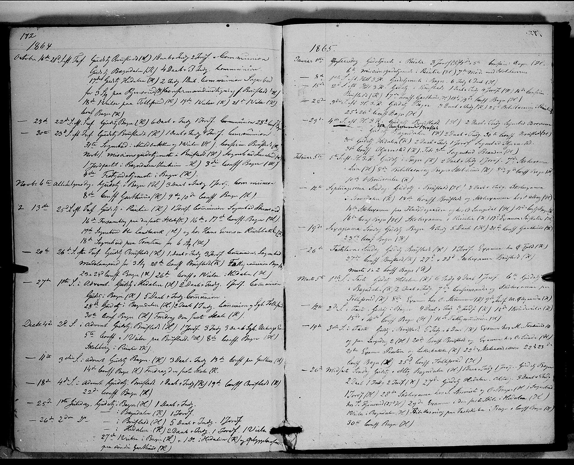 SAH, Sør-Aurdal prestekontor, Ministerialbok nr. 6, 1849-1876, s. 172