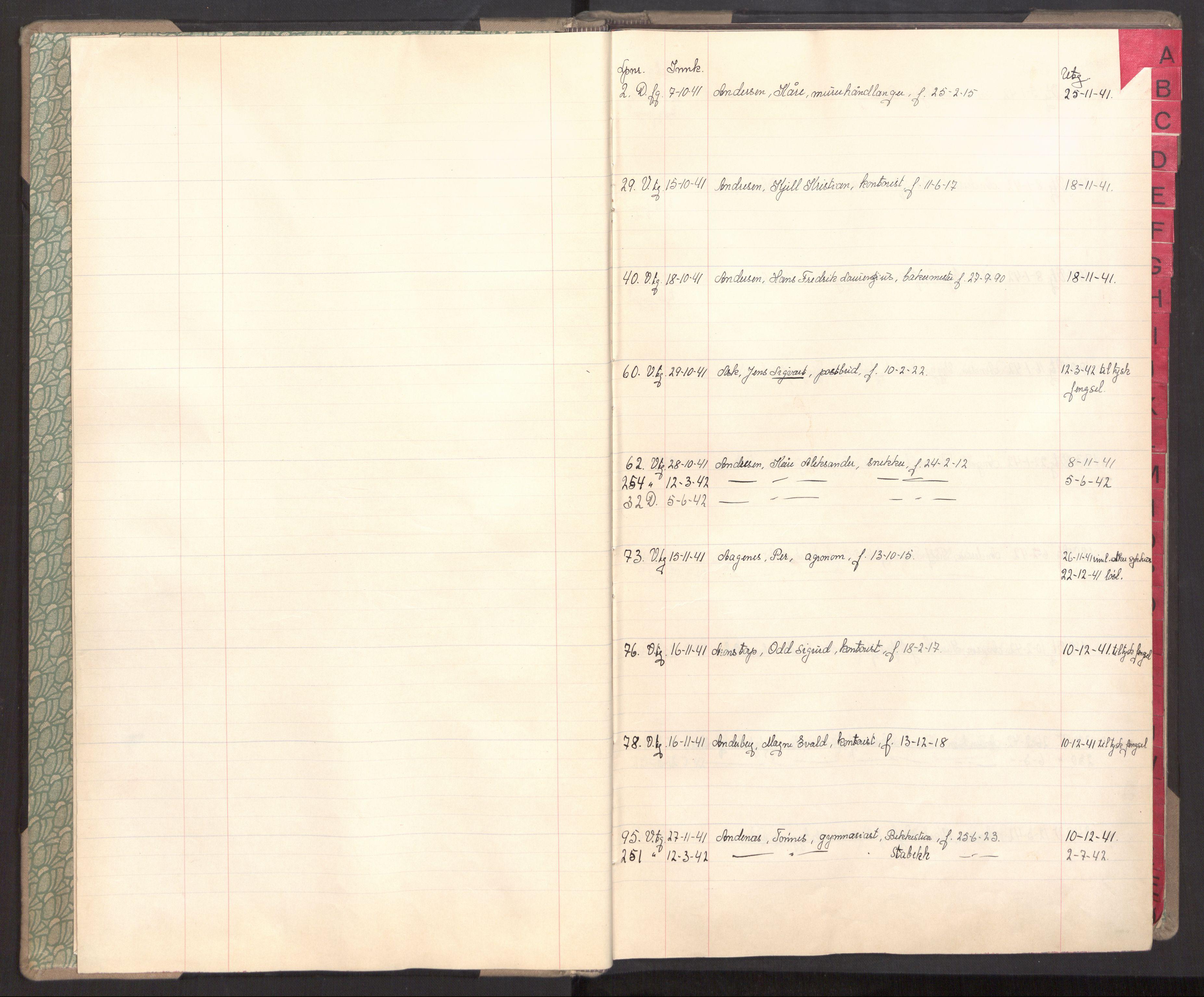 RA, Statspolitiet - Hovedkontoret / Osloavdelingen, C/Cl/L0004: Register over varetekts- og domsfanger, 1941-1945