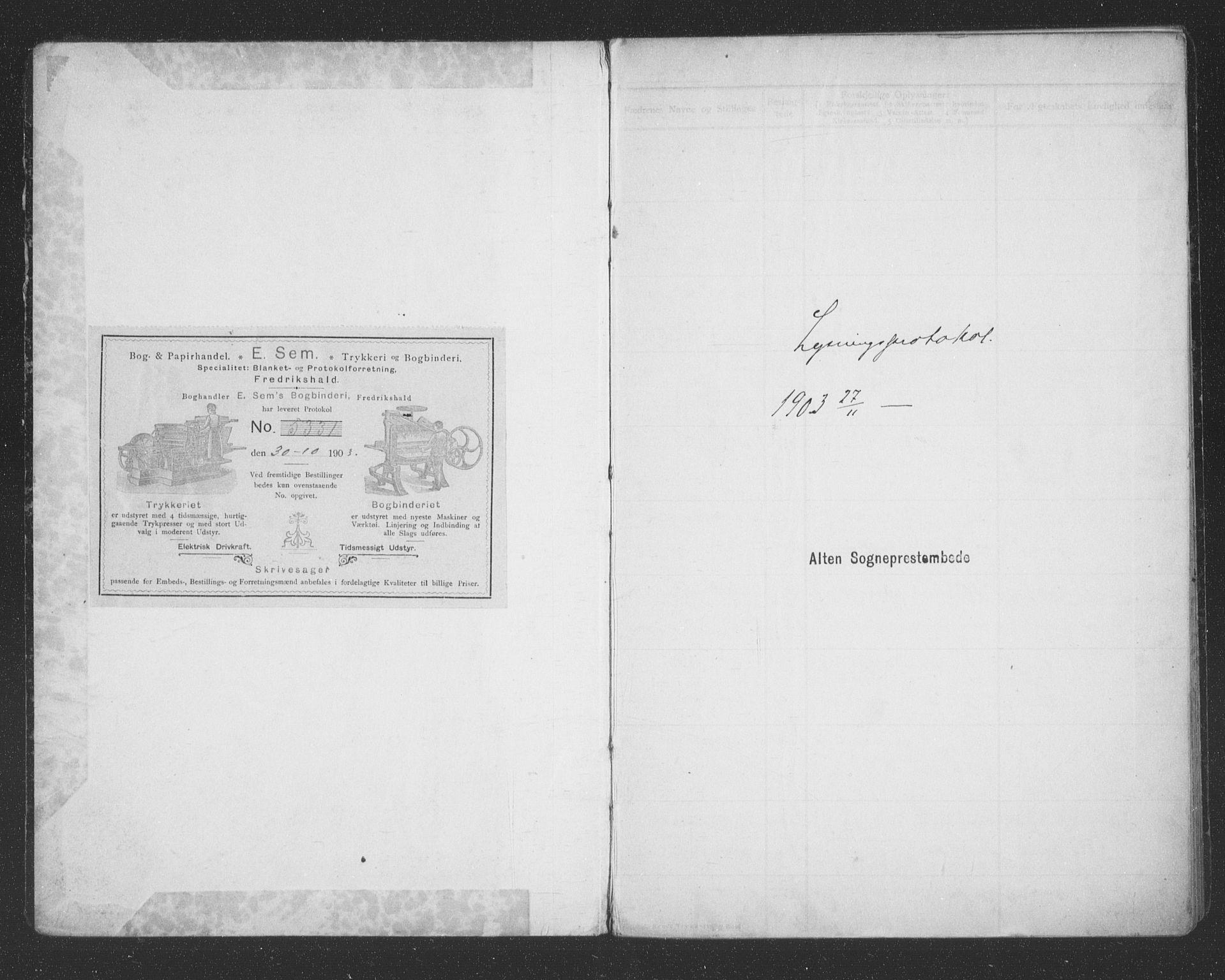 SATØ, Alta sokneprestembete, Lysningsprotokoll nr. 45, 1903-1921