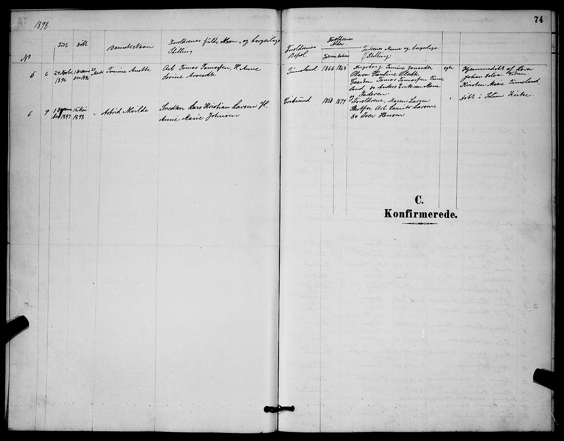 SAKO, Solum kirkebøker, G/Gb/L0003: Klokkerbok nr. II 3, 1880-1898, s. 74