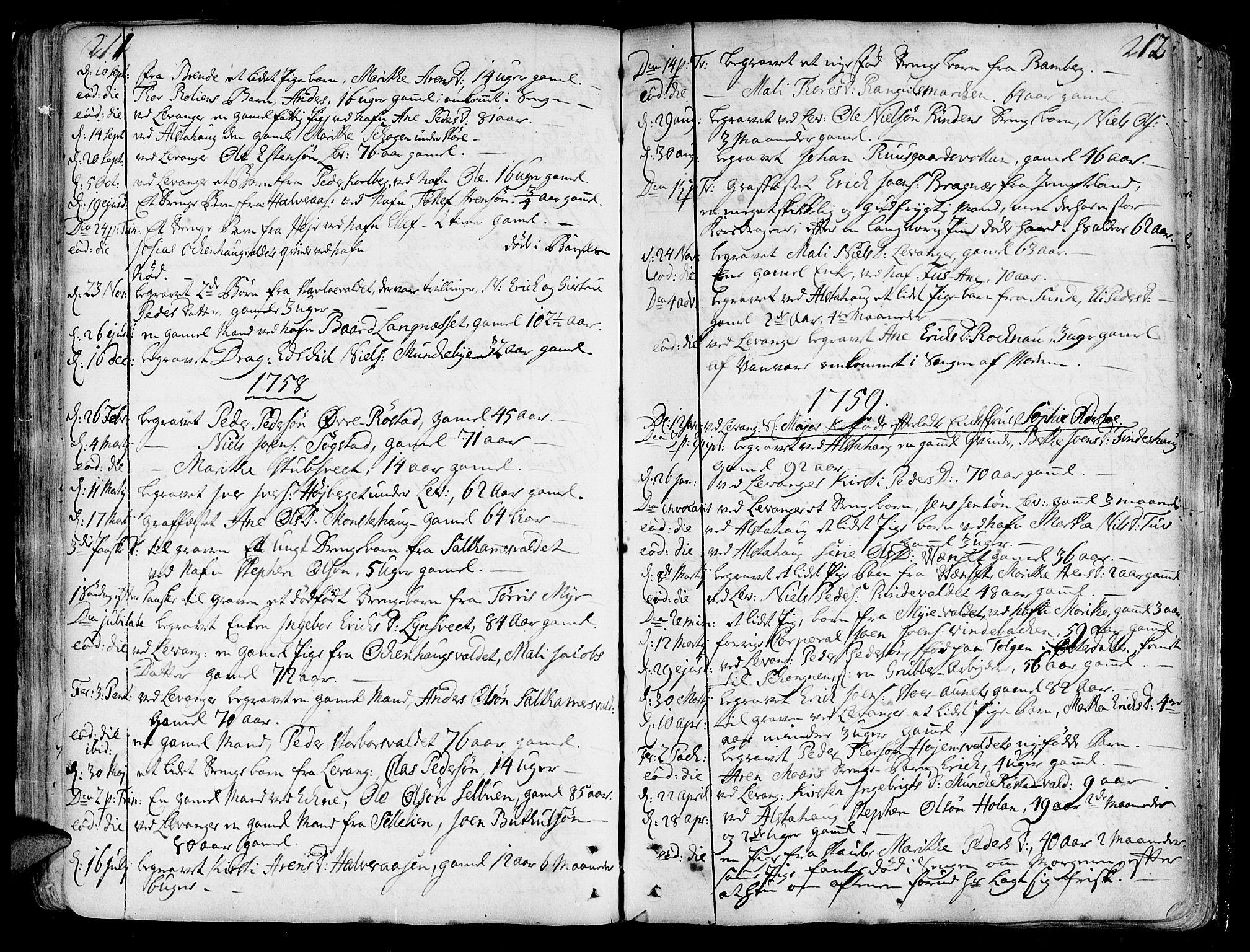 SAT, Ministerialprotokoller, klokkerbøker og fødselsregistre - Nord-Trøndelag, 717/L0141: Ministerialbok nr. 717A01, 1747-1803, s. 211-212