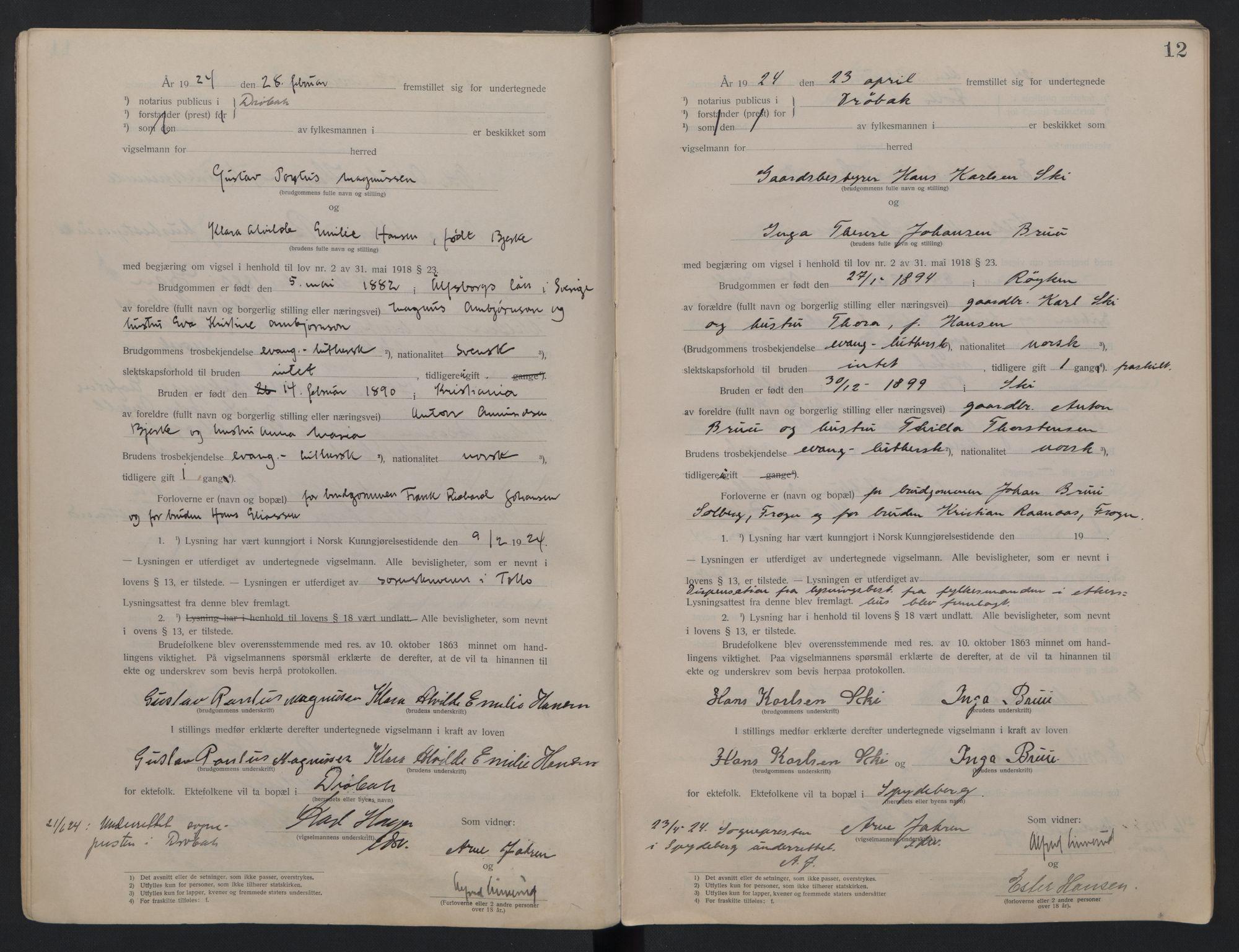 SAO, Follo sorenskriveri, L/La/Lab/L0001: Vigselsbok, 1920-1942, s. 12
