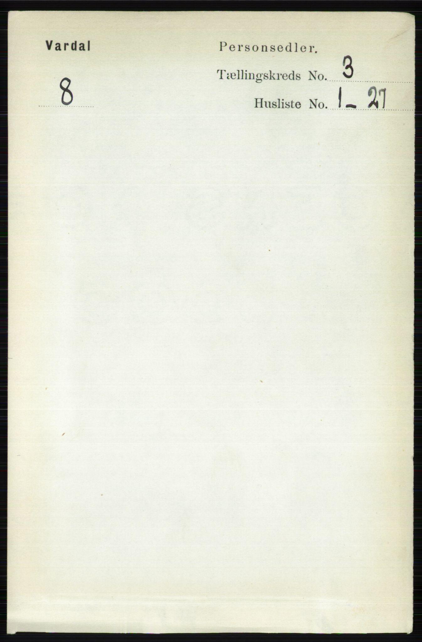 RA, Folketelling 1891 for 0527 Vardal herred, 1891, s. 977