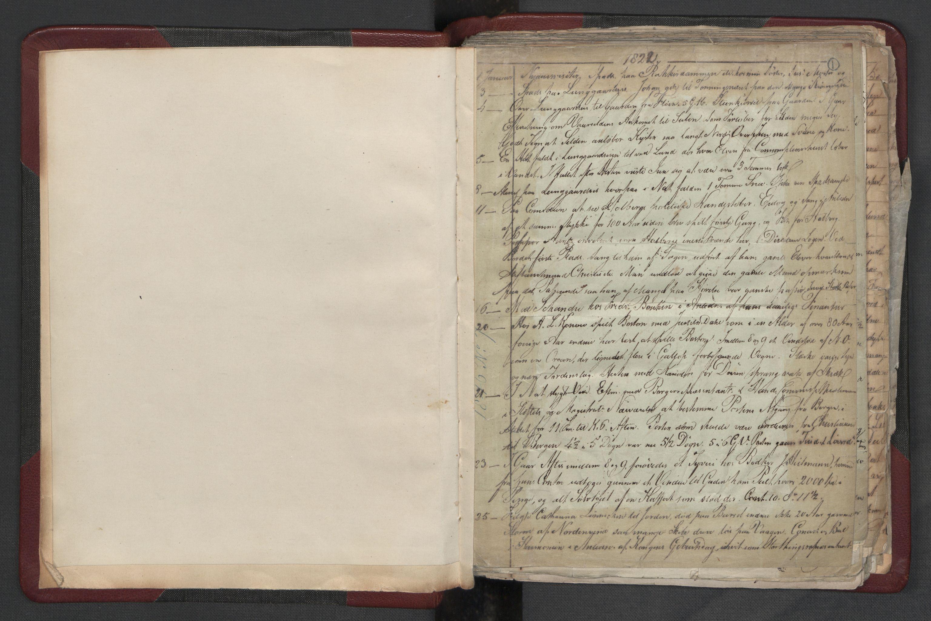 RA, Meltzer, Fredrik, F/L0004: Dagbok, 1822-1830, s. 1a