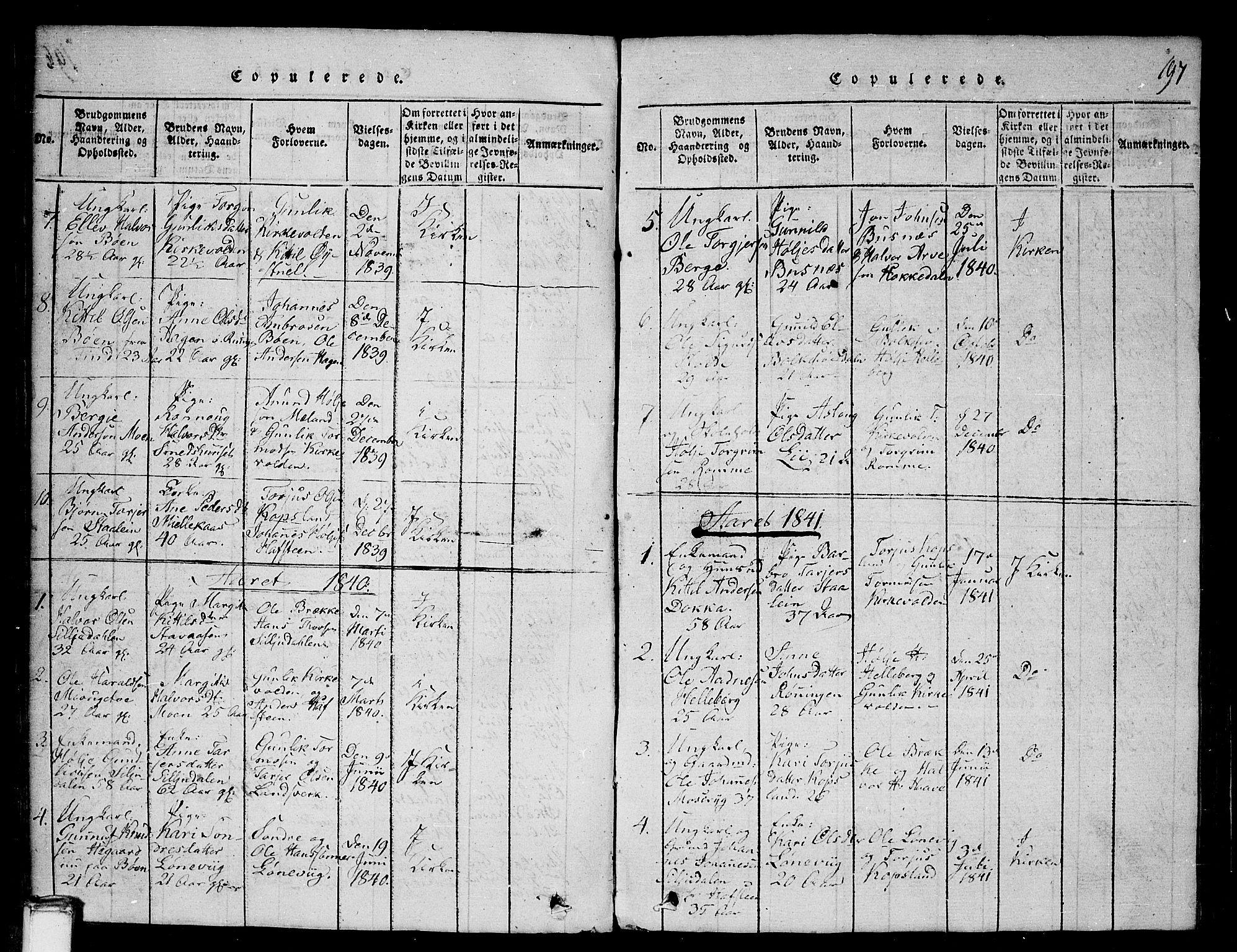 SAKO, Gransherad kirkebøker, G/Ga/L0001: Klokkerbok nr. I 1, 1815-1842, s. 197