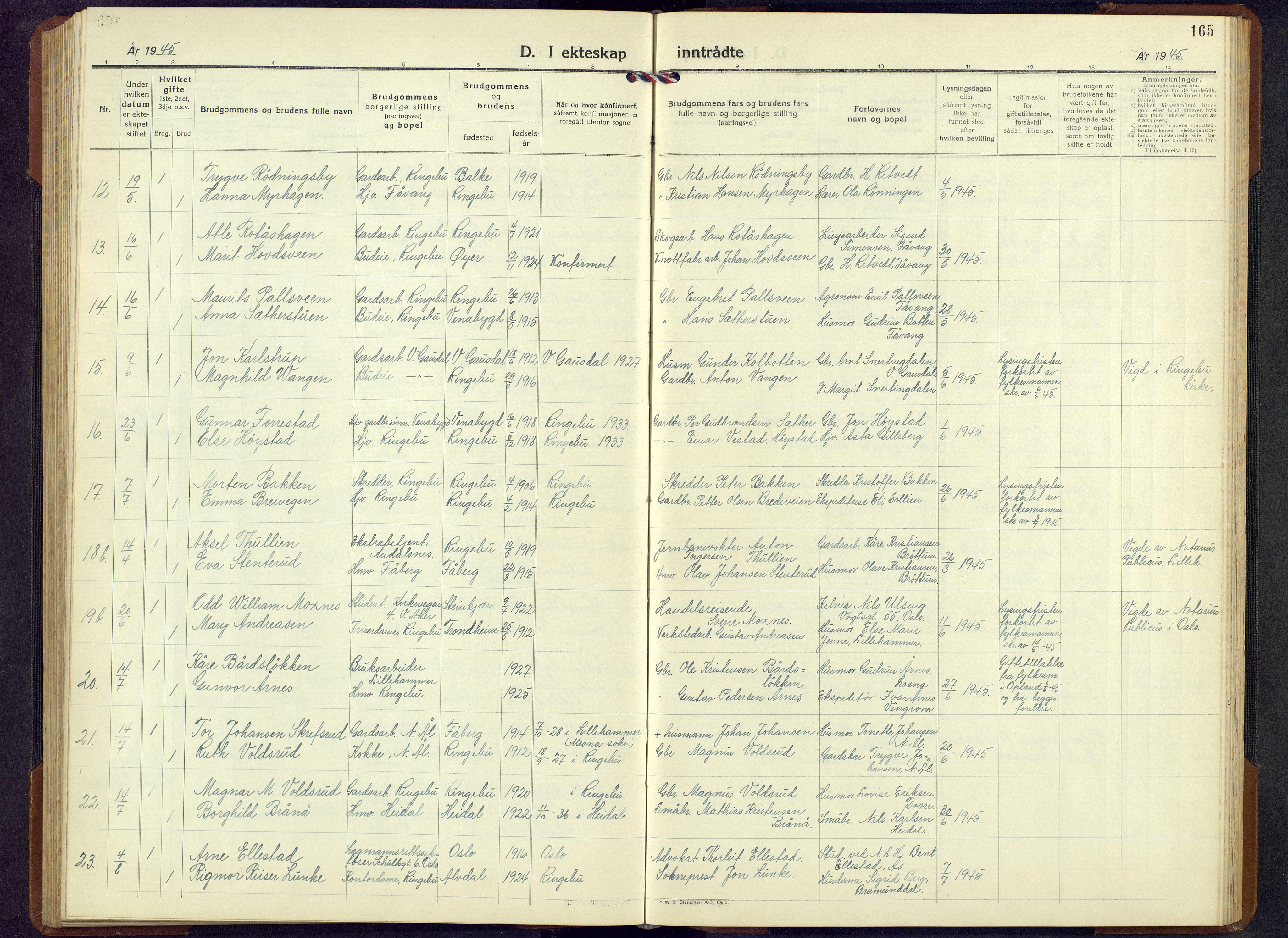 SAH, Ringebu prestekontor, Klokkerbok nr. 13, 1943-1956, s. 165