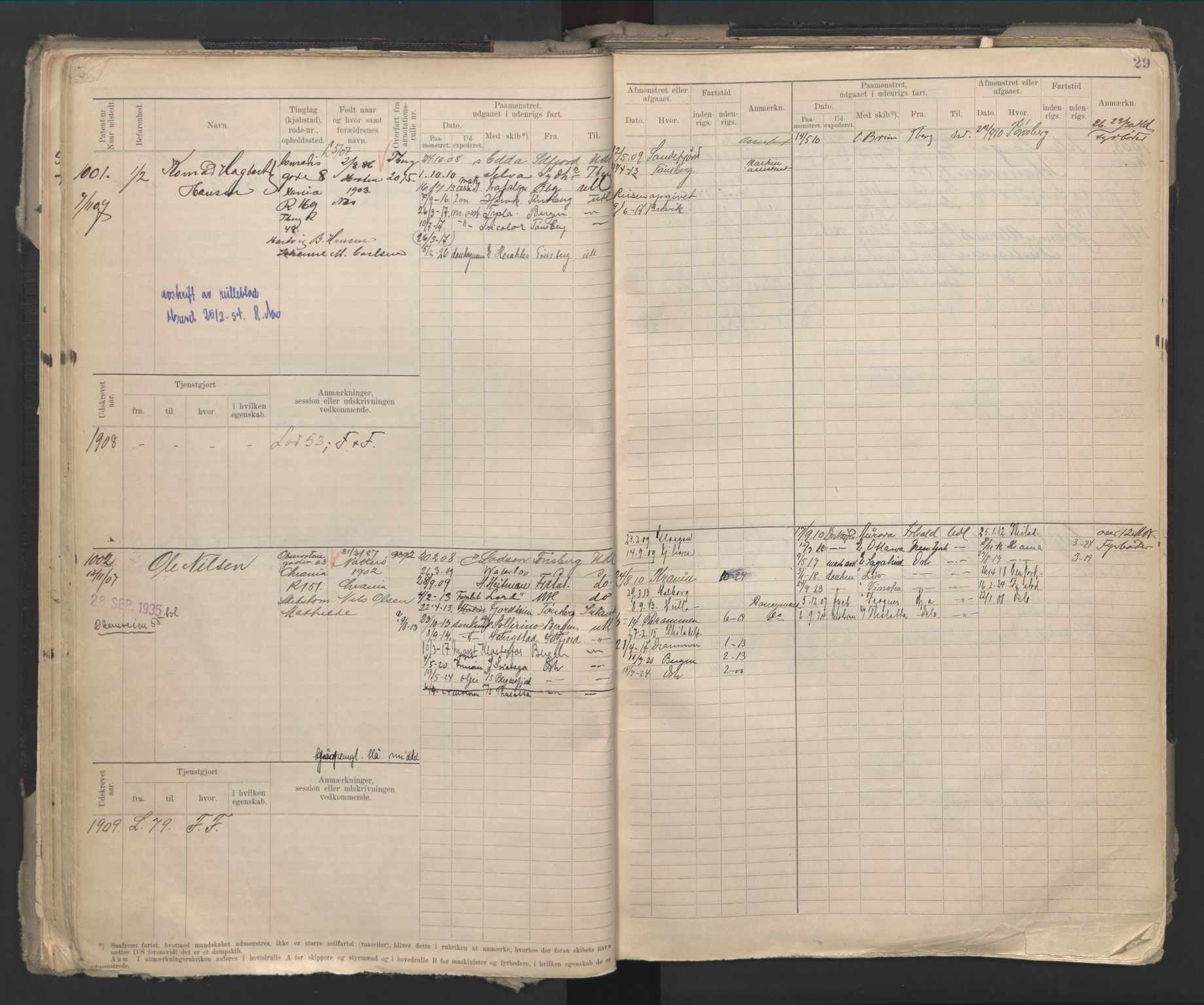 SAO, Oslo sjømannskontor, F/Fd/L0002: B-rulle, 1906-1916, s. 28b-29a