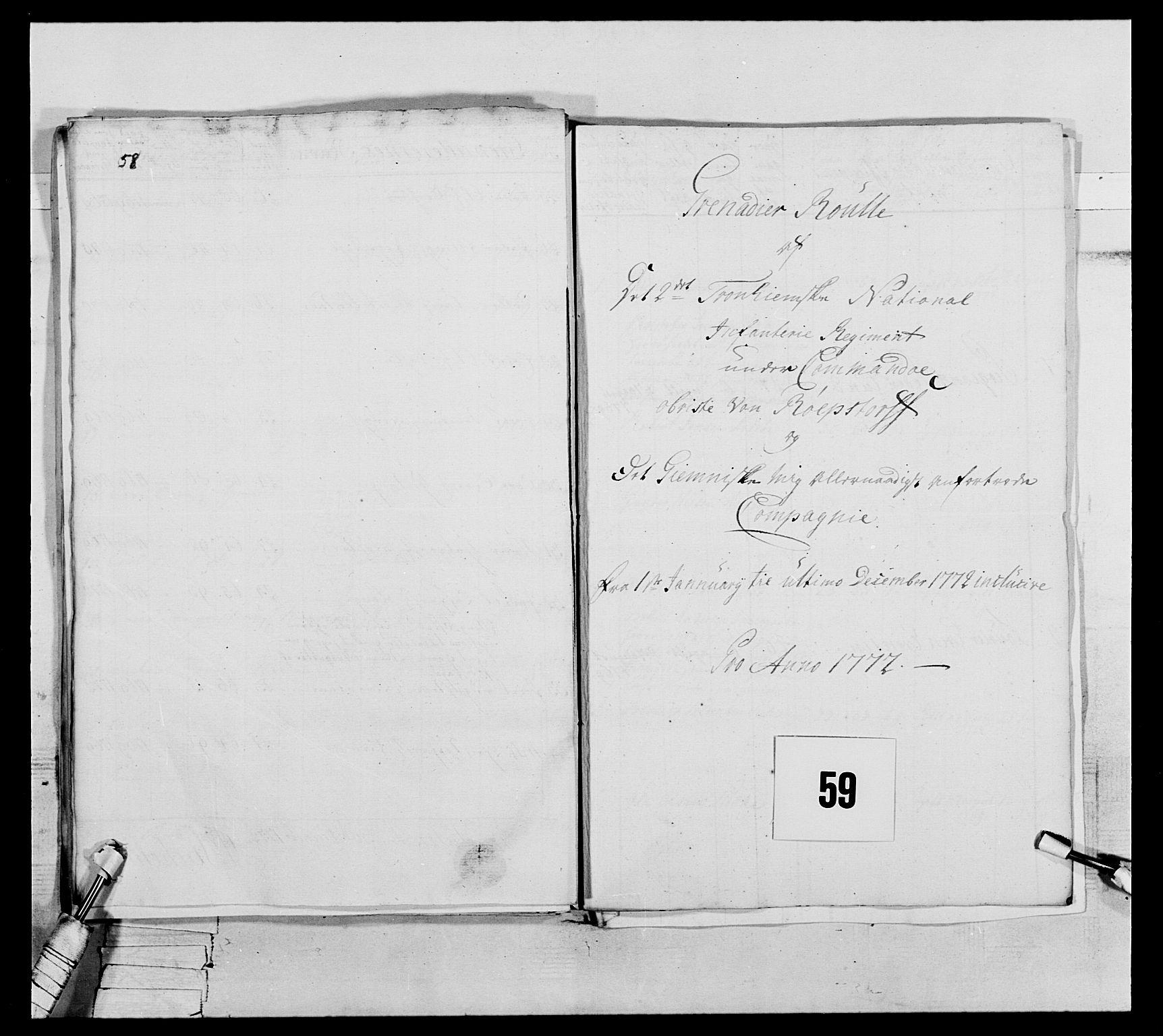 RA, Generalitets- og kommissariatskollegiet, Det kongelige norske kommissariatskollegium, E/Eh/L0076: 2. Trondheimske nasjonale infanteriregiment, 1766-1773, s. 203