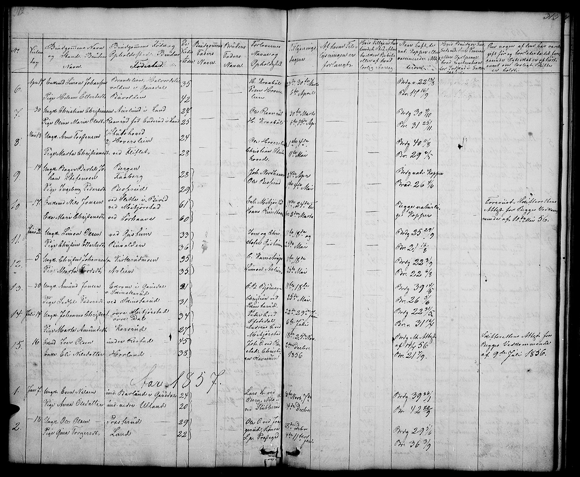 SAH, Fåberg prestekontor, Klokkerbok nr. 5, 1837-1864, s. 312-313