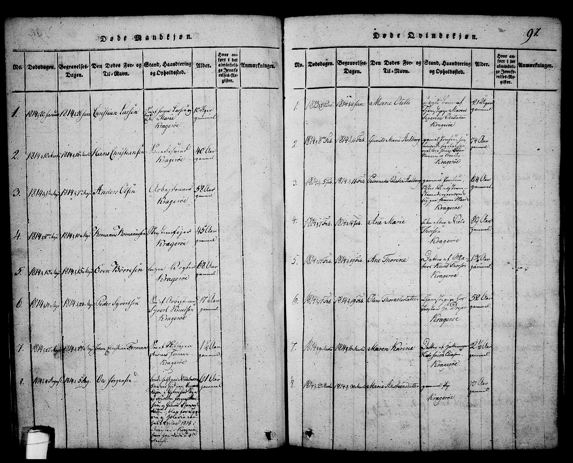 SAKO, Kragerø kirkebøker, G/Ga/L0002: Klokkerbok nr. 2, 1814-1831, s. 97