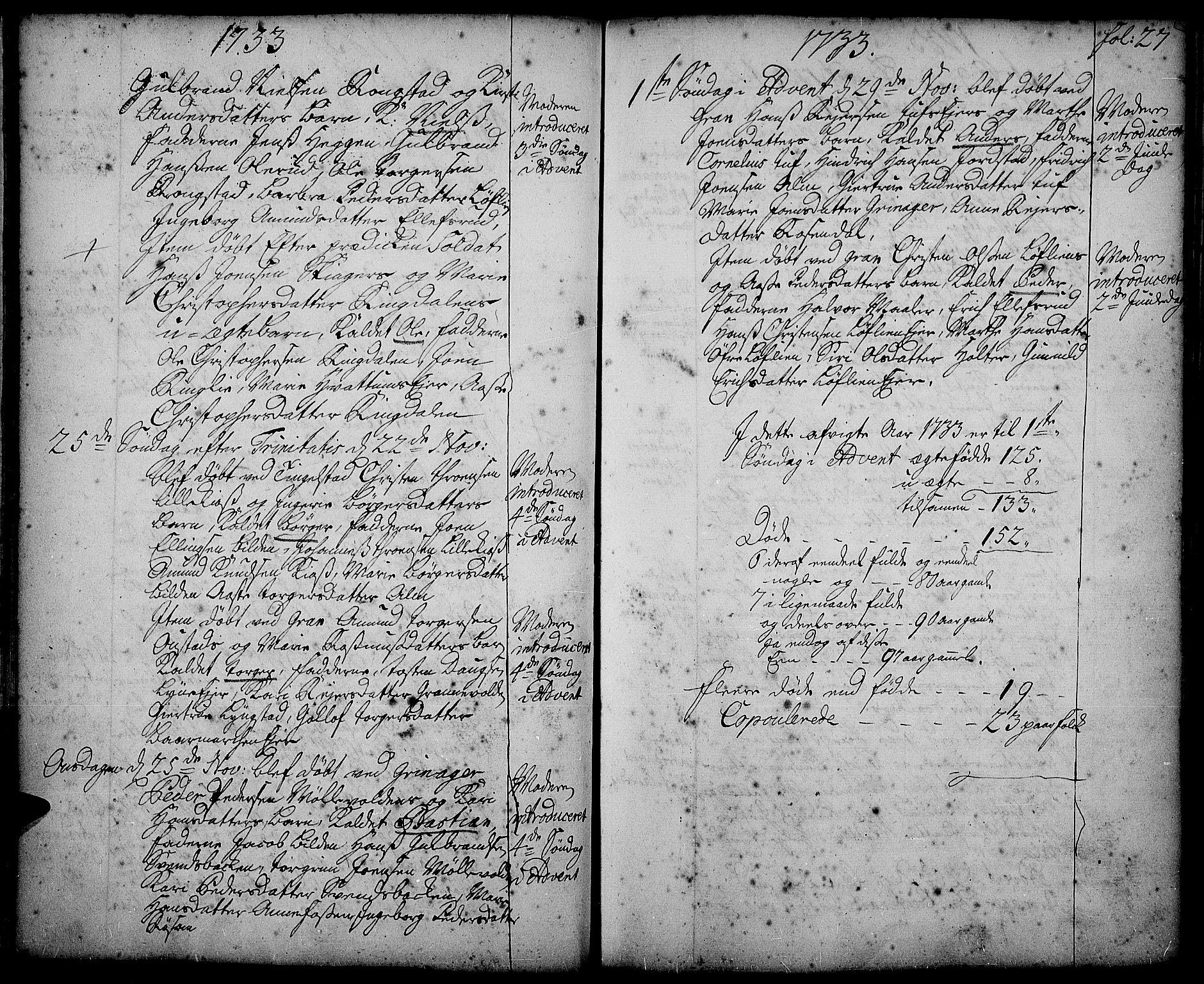 SAH, Gran prestekontor, Ministerialbok nr. 2, 1732-1744, s. 27