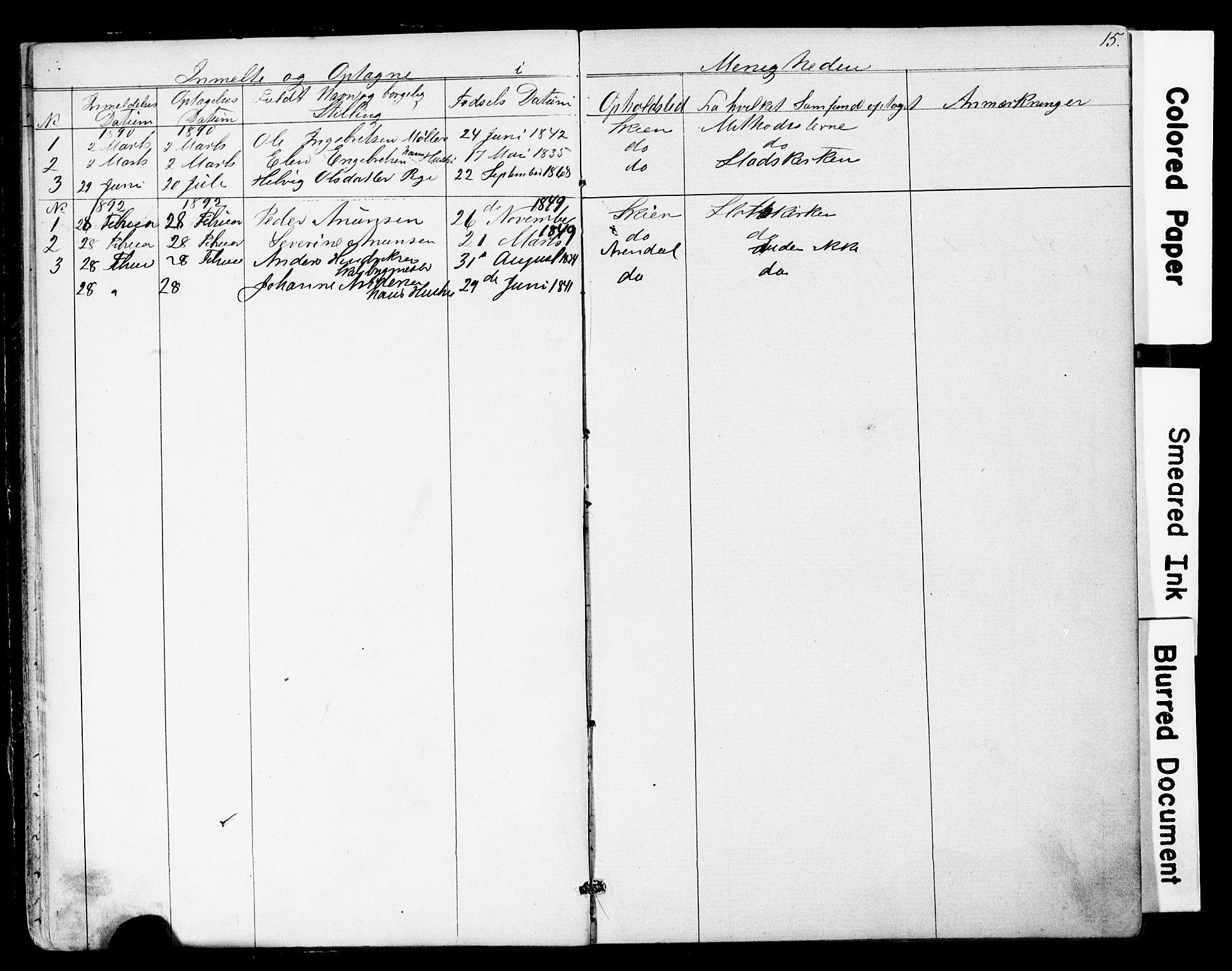 SAKO, Den frie apostolisk-kristelige menighet i Skien, F/Fa/L0001: Dissenterprotokoll nr. 1, 1856-1892, s. 15