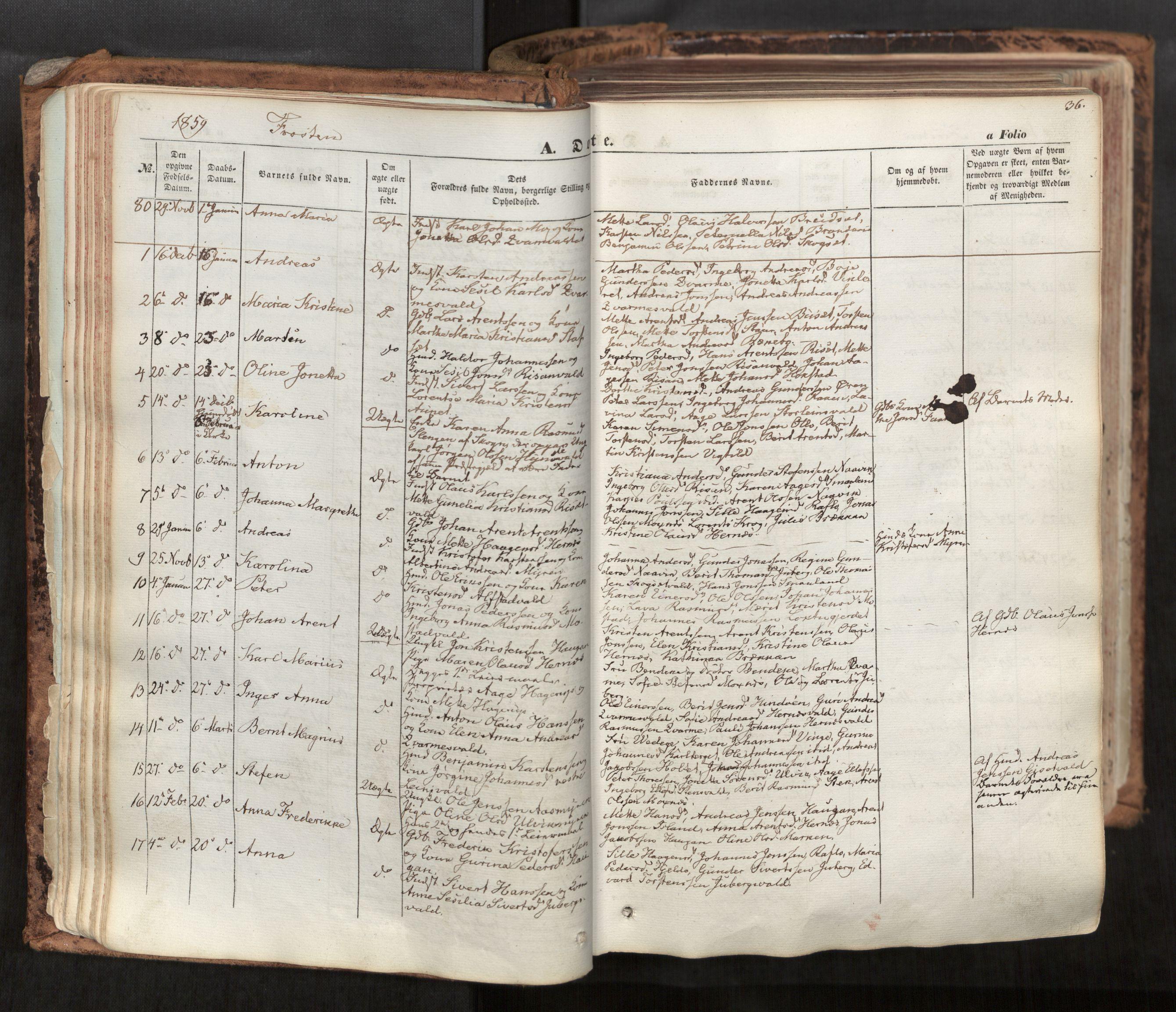 SAT, Ministerialprotokoller, klokkerbøker og fødselsregistre - Nord-Trøndelag, 713/L0116: Ministerialbok nr. 713A07, 1850-1877, s. 36