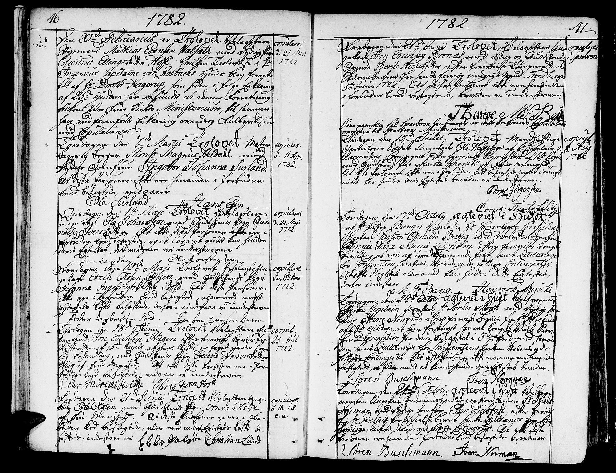 SAT, Ministerialprotokoller, klokkerbøker og fødselsregistre - Sør-Trøndelag, 602/L0105: Ministerialbok nr. 602A03, 1774-1814, s. 46-47
