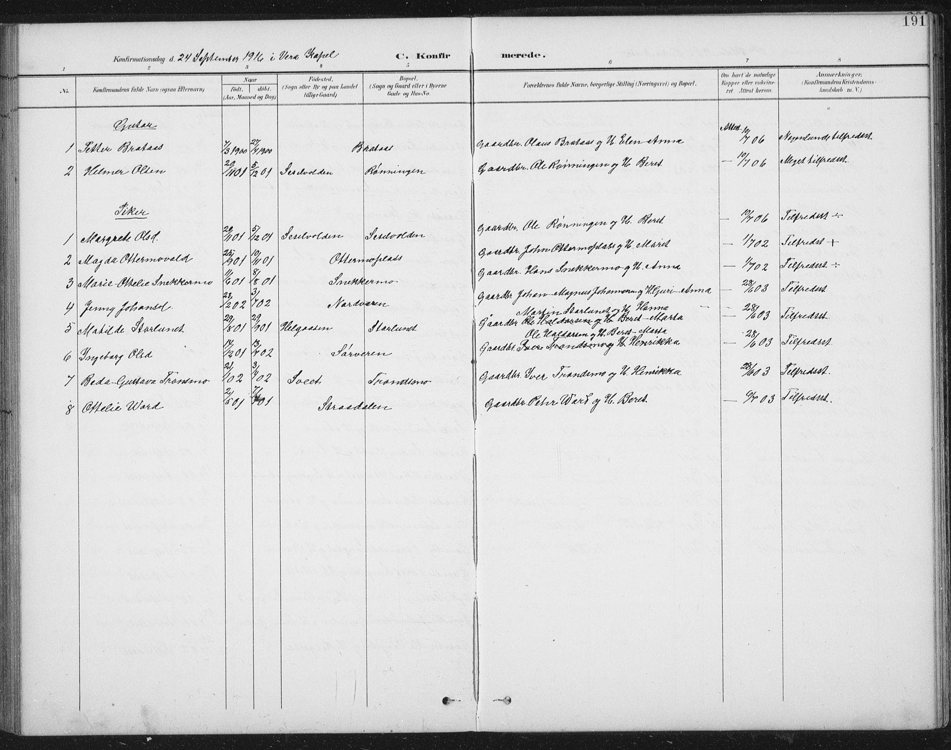 SAT, Ministerialprotokoller, klokkerbøker og fødselsregistre - Nord-Trøndelag, 724/L0269: Klokkerbok nr. 724C05, 1899-1920, s. 191