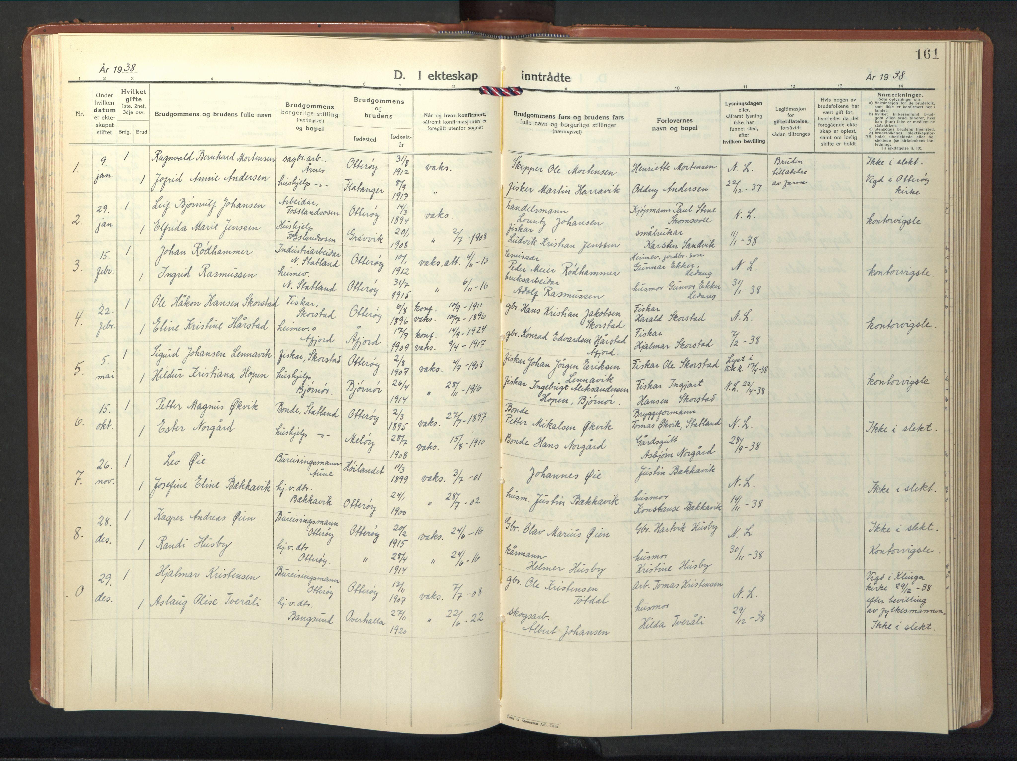 SAT, Ministerialprotokoller, klokkerbøker og fødselsregistre - Nord-Trøndelag, 774/L0631: Klokkerbok nr. 774C02, 1934-1950, s. 161