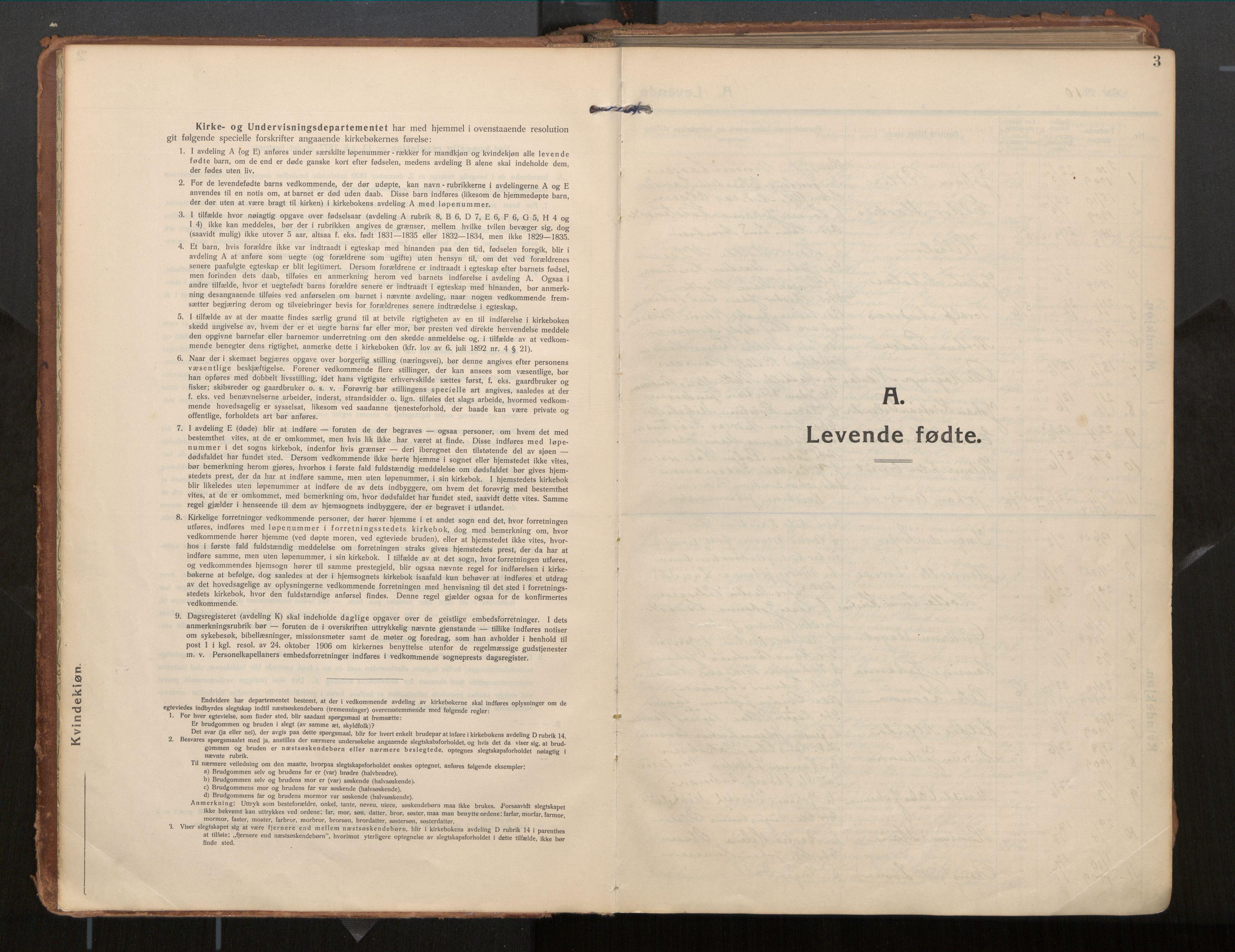 SAT, Ministerialprotokoller, klokkerbøker og fødselsregistre - Nordland, 854/L0784: Ministerialbok nr. 854A07, 1910-1922, s. 3