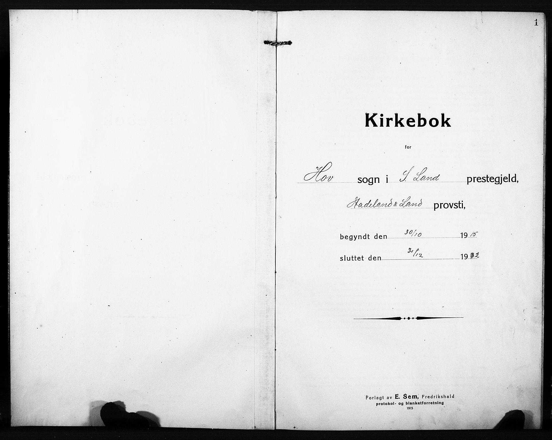 SAH, Søndre Land prestekontor, L/L0007: Klokkerbok nr. 7, 1915-1932, s. 1