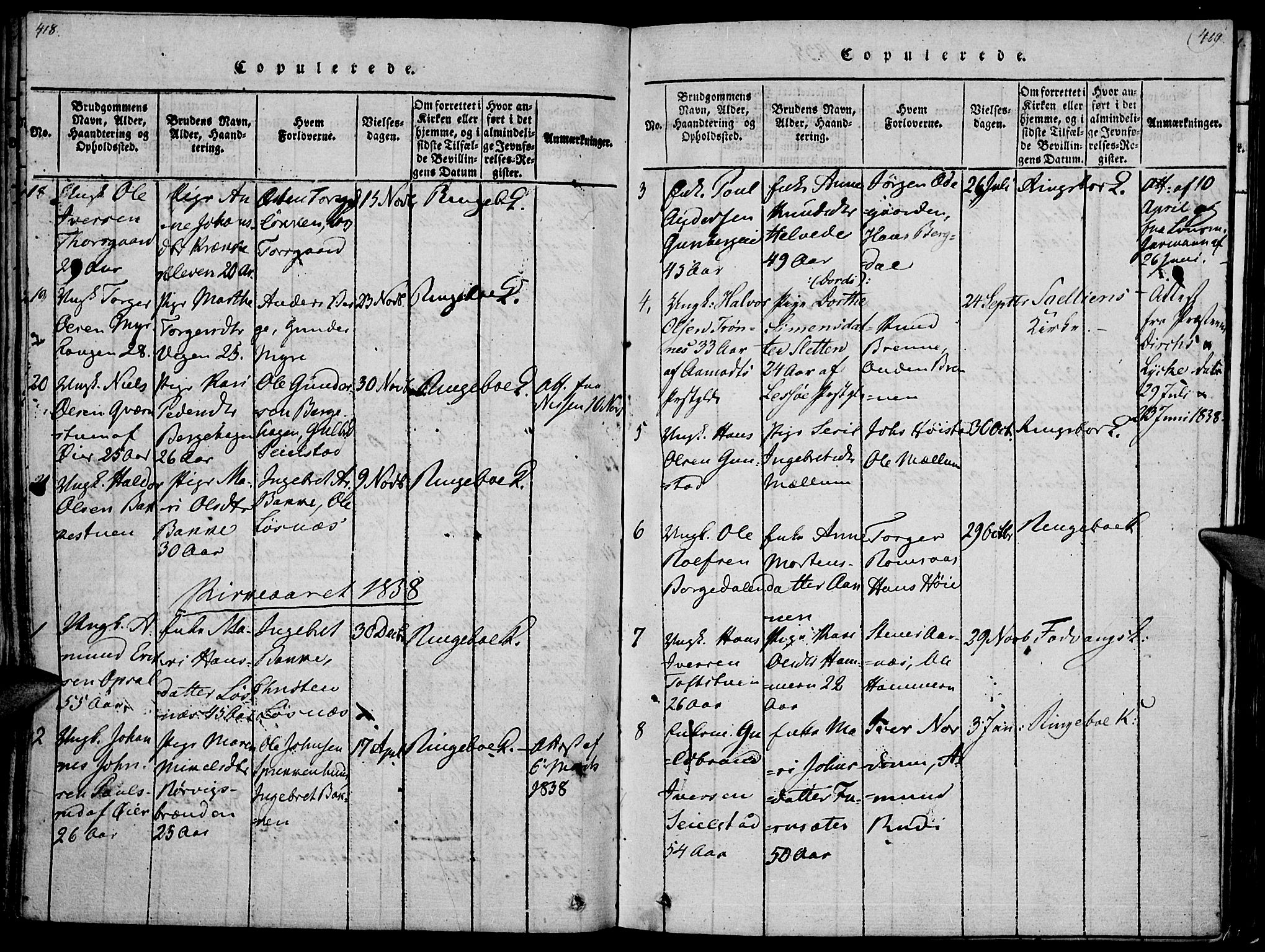 SAH, Ringebu prestekontor, Ministerialbok nr. 4, 1821-1839, s. 418-419