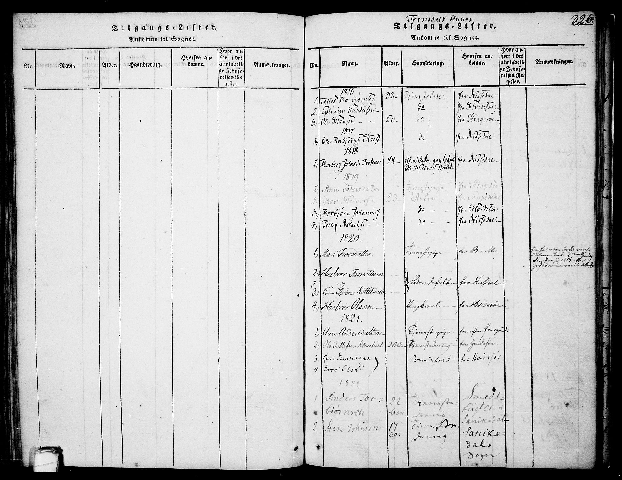 SAKO, Drangedal kirkebøker, F/Fa/L0005: Ministerialbok nr. 5 /2, 1814-1831, s. 326