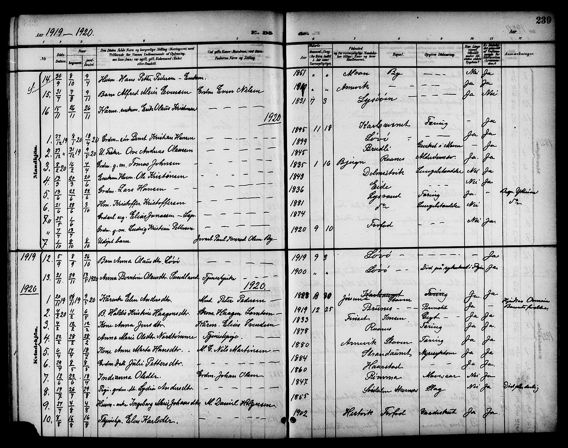 SAT, Ministerialprotokoller, klokkerbøker og fødselsregistre - Sør-Trøndelag, 655/L0688: Klokkerbok nr. 655C04, 1899-1922, s. 239
