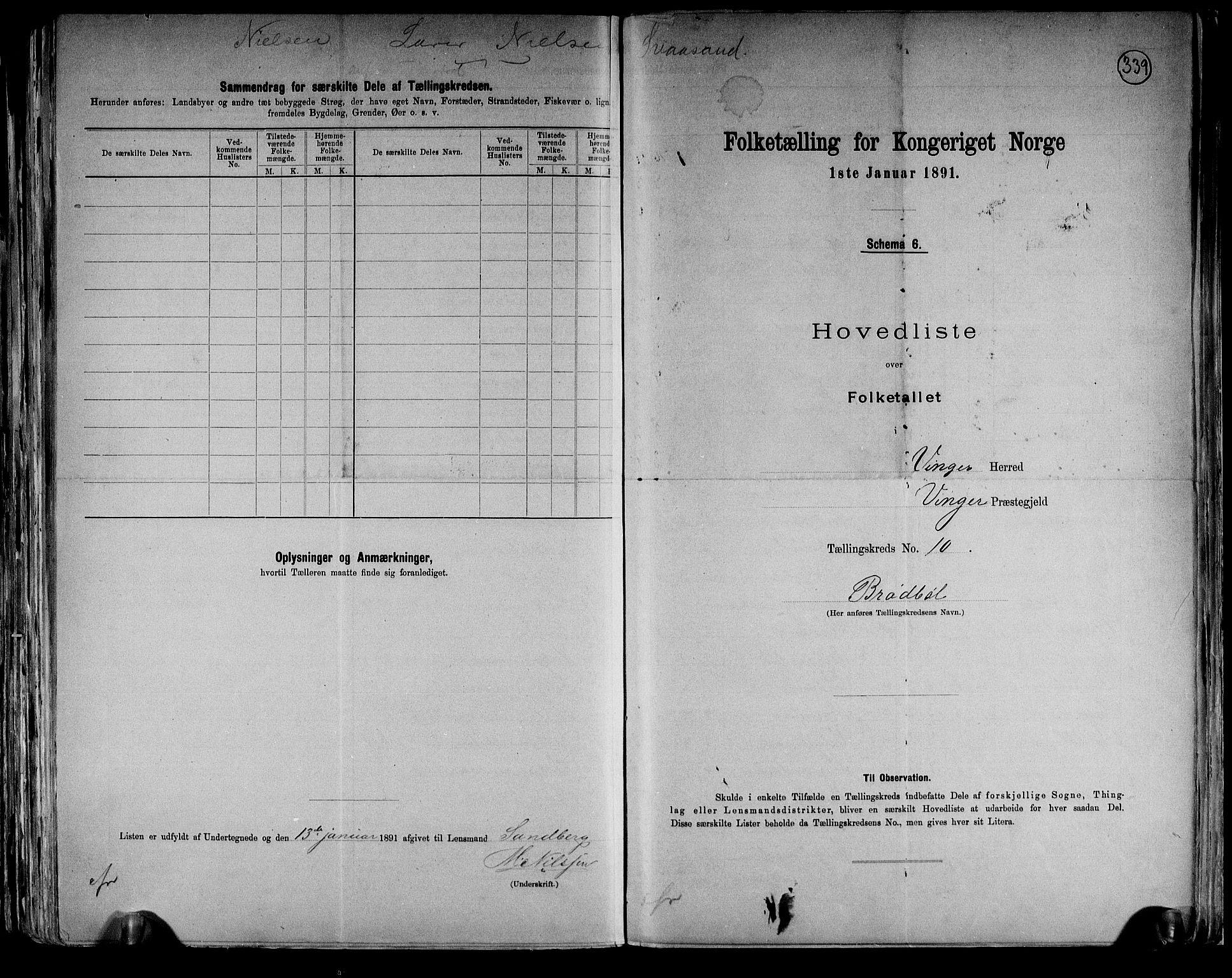 RA, Folketelling 1891 for 0421 Vinger herred, 1891, s. 22