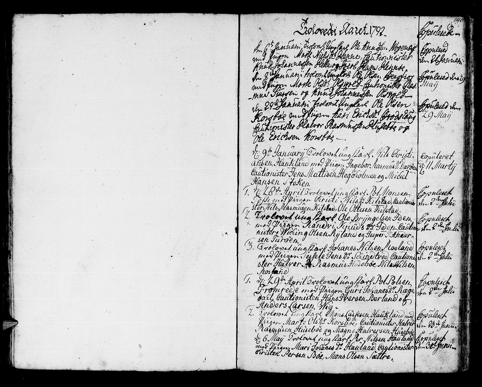 SAB, Manger sokneprestembete, H/Haa: Ministerialbok nr. A 2, 1792-1815, s. 148