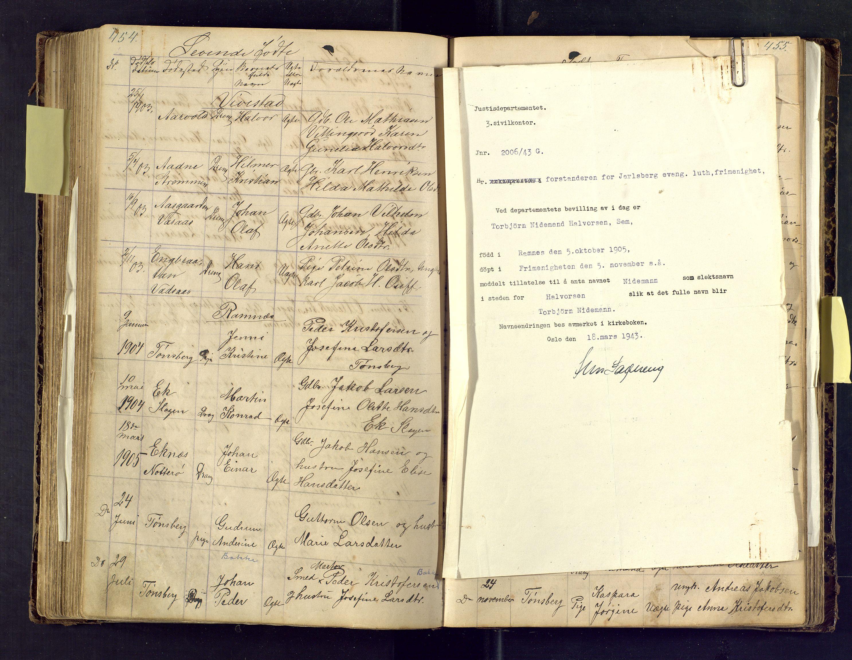 SAKO, Den evangelisk lutherske frimenighet i Jarlsbergs grevskap med flere steder, F/Fa/L0001: Dissenterprotokoll nr. Fa/L0001, 1872-1925, s. 454-455