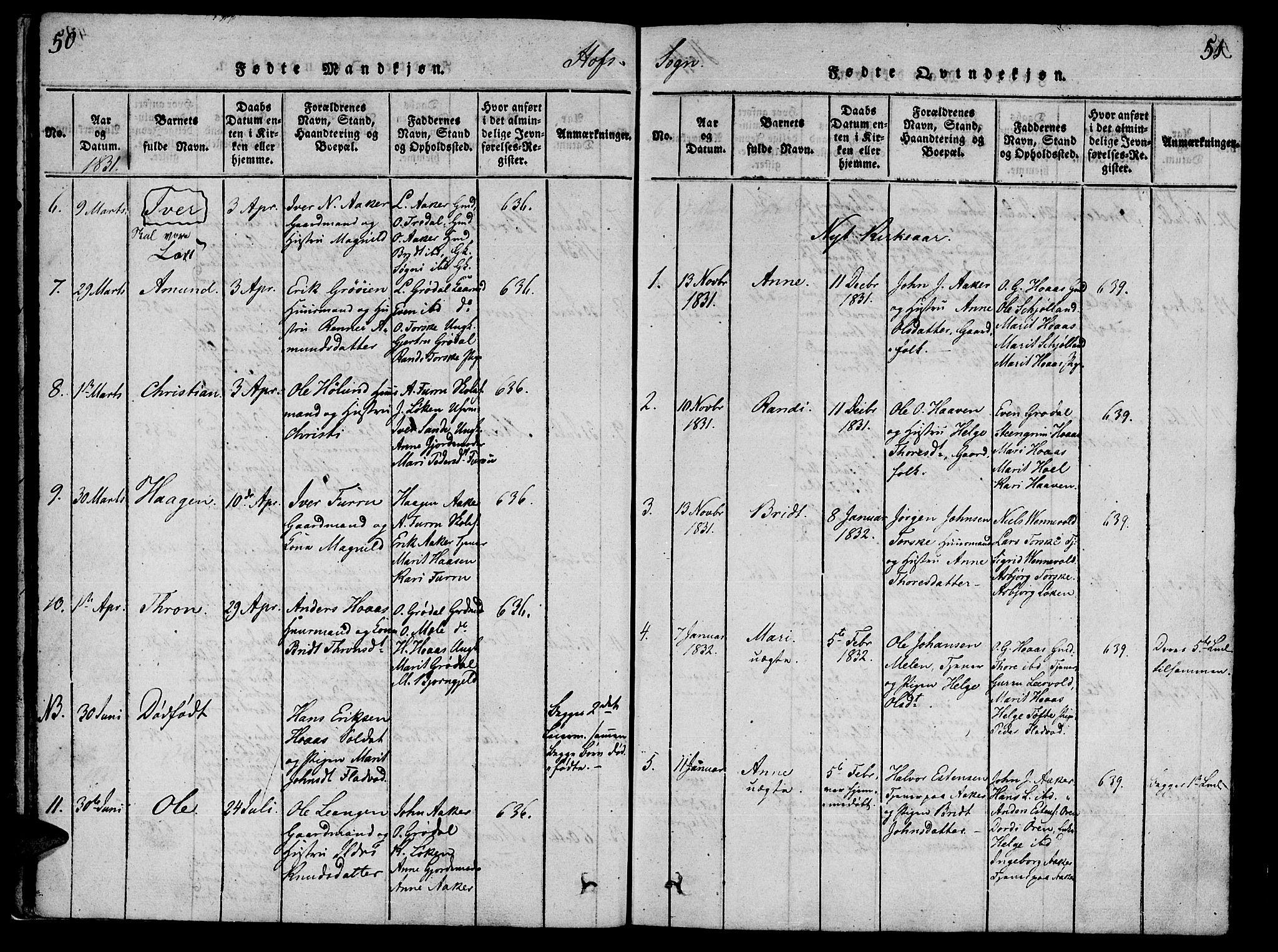 SAT, Ministerialprotokoller, klokkerbøker og fødselsregistre - Møre og Romsdal, 590/L1009: Ministerialbok nr. 590A03 /1, 1819-1832, s. 50-51