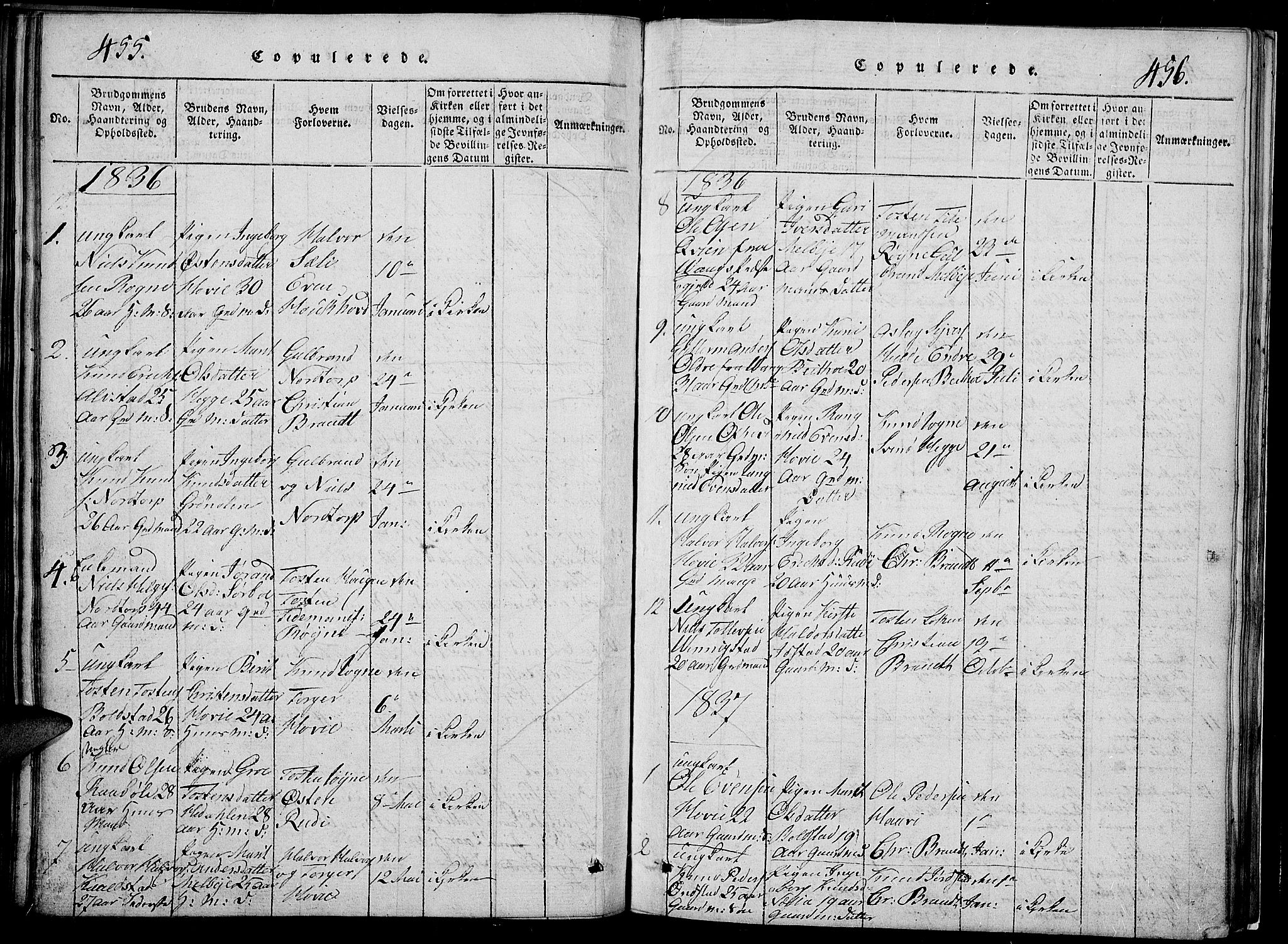 SAH, Slidre prestekontor, Klokkerbok nr. 2, 1814-1839, s. 455-456