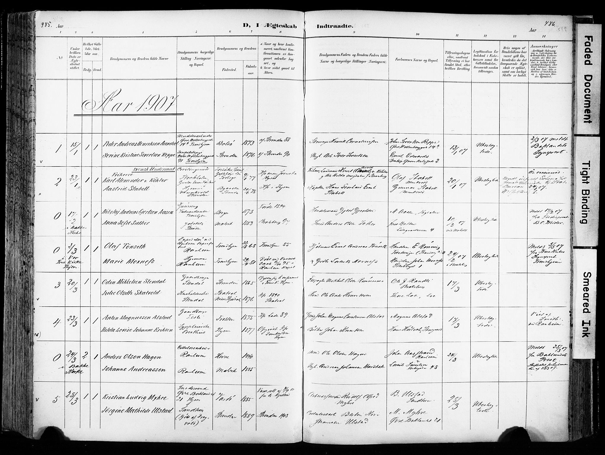SAT, Ministerialprotokoller, klokkerbøker og fødselsregistre - Sør-Trøndelag, 606/L0301: Ministerialbok nr. 606A16, 1894-1907, s. 485-486