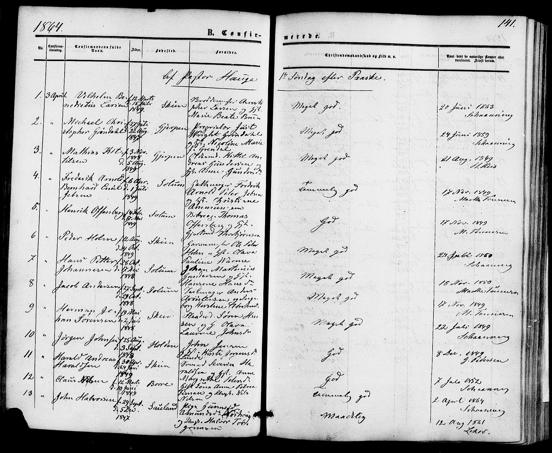 SAKO, Skien kirkebøker, F/Fa/L0007: Ministerialbok nr. 7, 1856-1865, s. 141