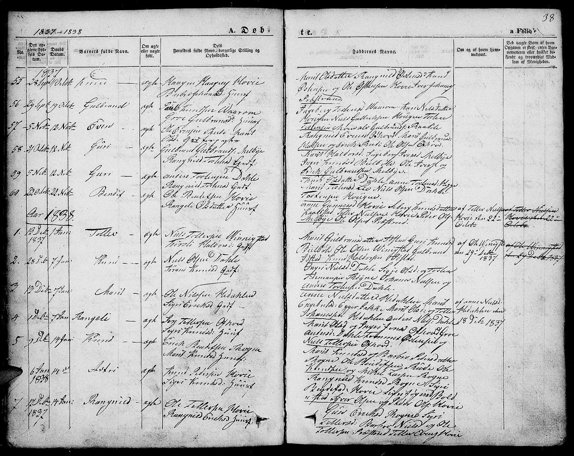 SAH, Slidre prestekontor, Ministerialbok nr. 4, 1831-1848, s. 38