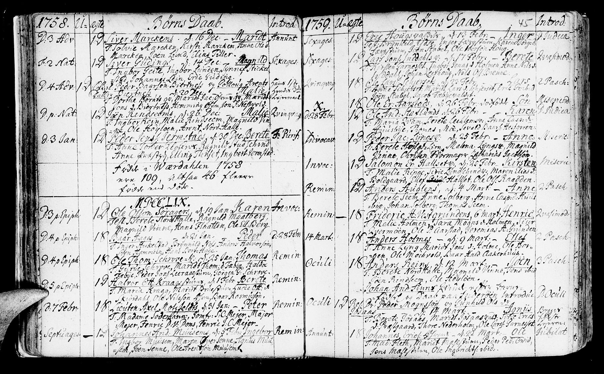 SAT, Ministerialprotokoller, klokkerbøker og fødselsregistre - Nord-Trøndelag, 723/L0231: Ministerialbok nr. 723A02, 1748-1780, s. 45