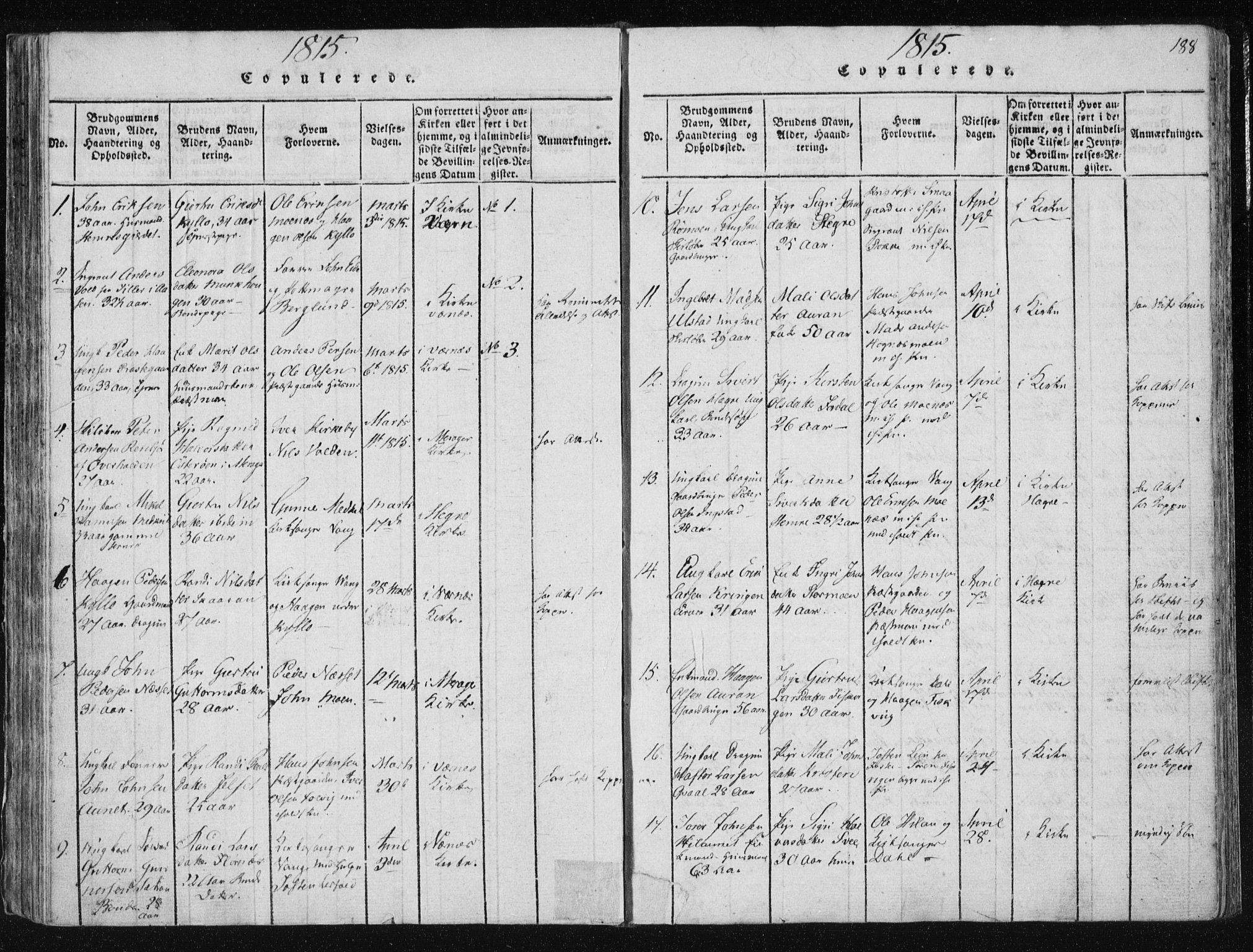 SAT, Ministerialprotokoller, klokkerbøker og fødselsregistre - Nord-Trøndelag, 709/L0061: Ministerialbok nr. 709A08 /1, 1815-1819, s. 188