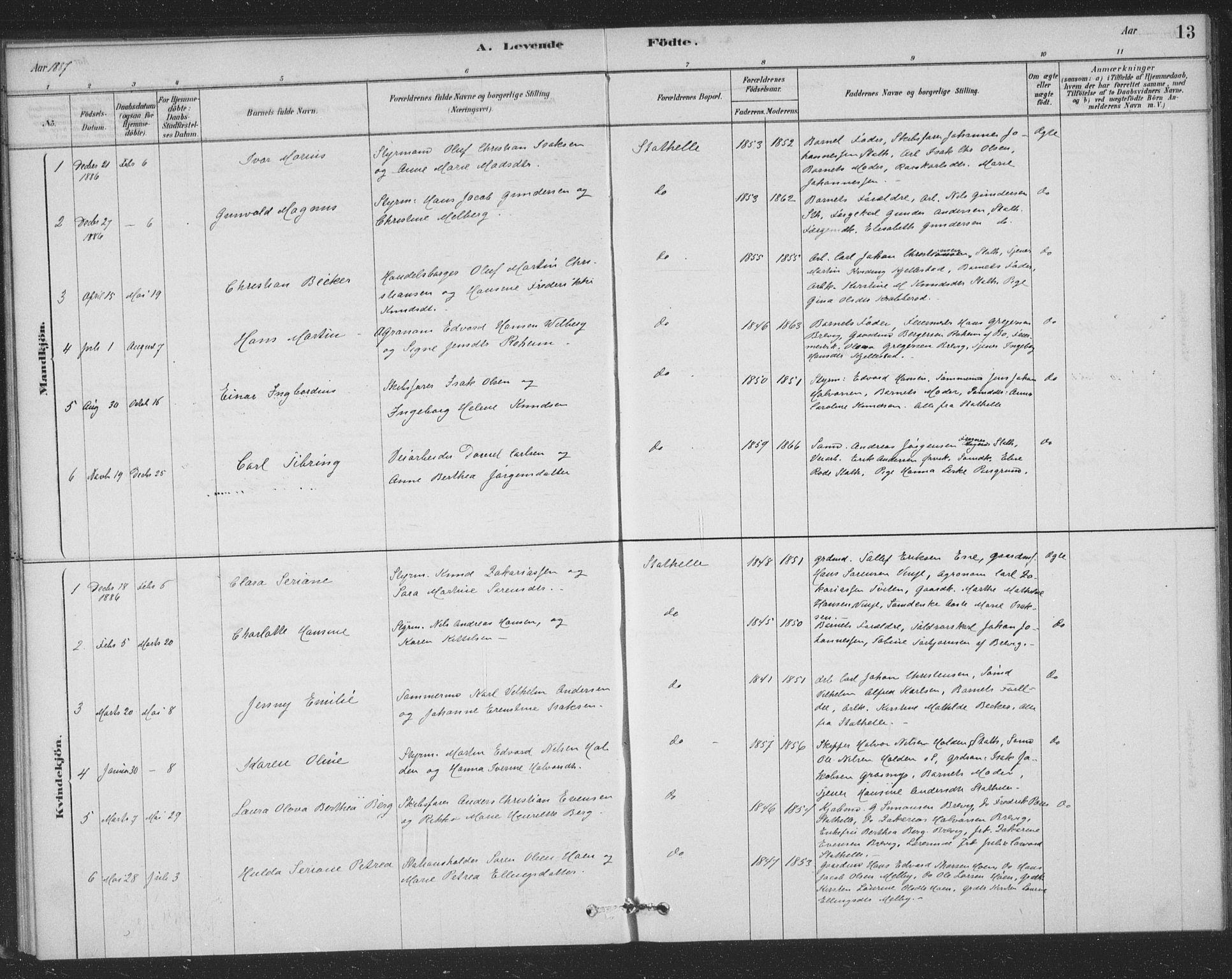 SAKO, Bamble kirkebøker, F/Fb/L0001: Ministerialbok nr. II 1, 1878-1899, s. 13