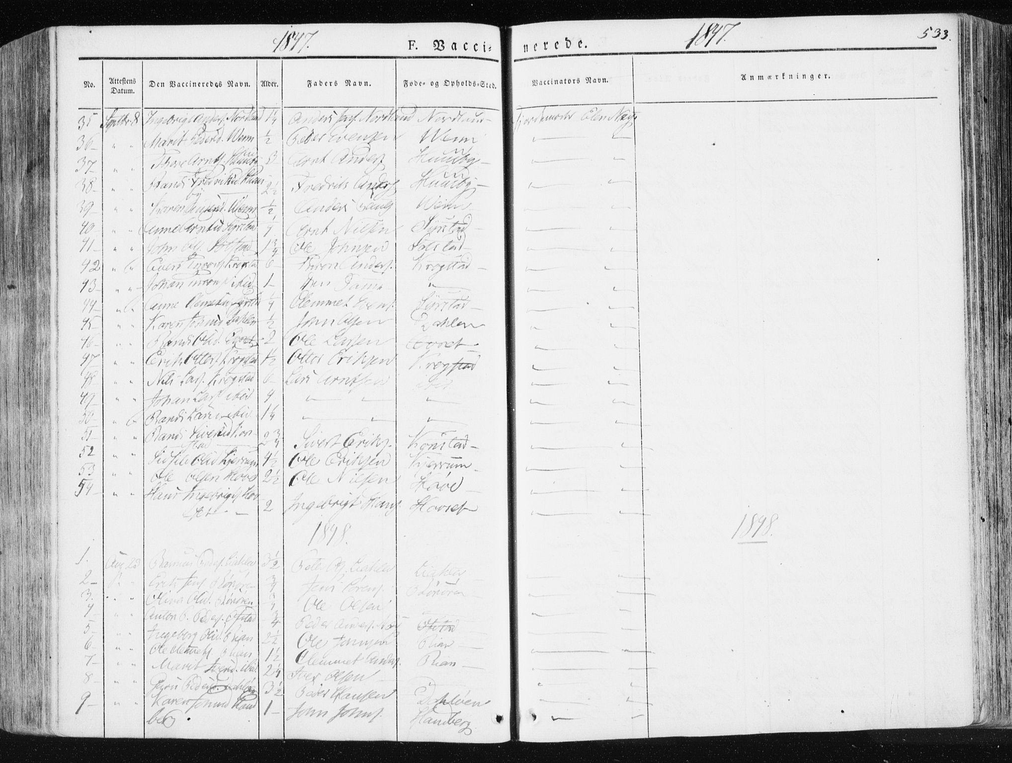 SAT, Ministerialprotokoller, klokkerbøker og fødselsregistre - Sør-Trøndelag, 665/L0771: Ministerialbok nr. 665A06, 1830-1856, s. 533