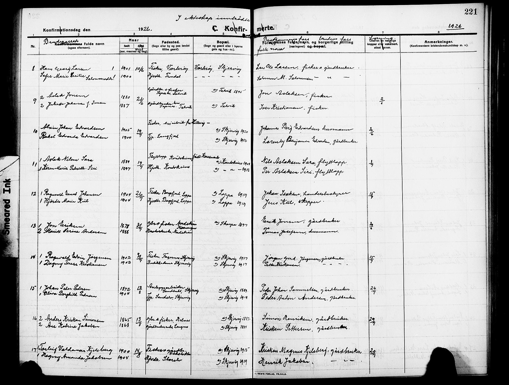 SATØ, Skjervøy sokneprestkontor, H/Ha/Hab/L0009klokker: Klokkerbok nr. 9, 1911-1926, s. 221