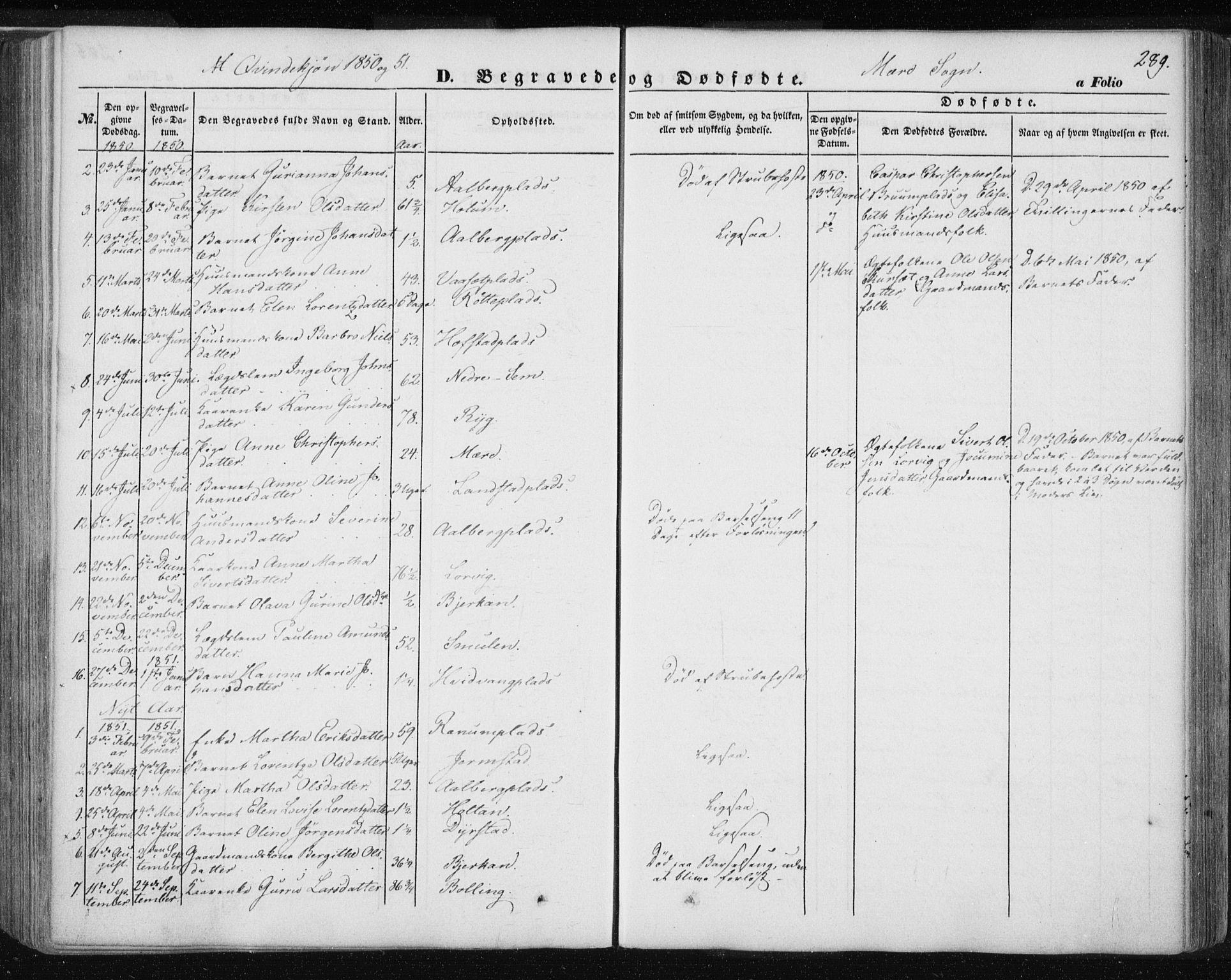 SAT, Ministerialprotokoller, klokkerbøker og fødselsregistre - Nord-Trøndelag, 735/L0342: Ministerialbok nr. 735A07 /1, 1849-1862, s. 289