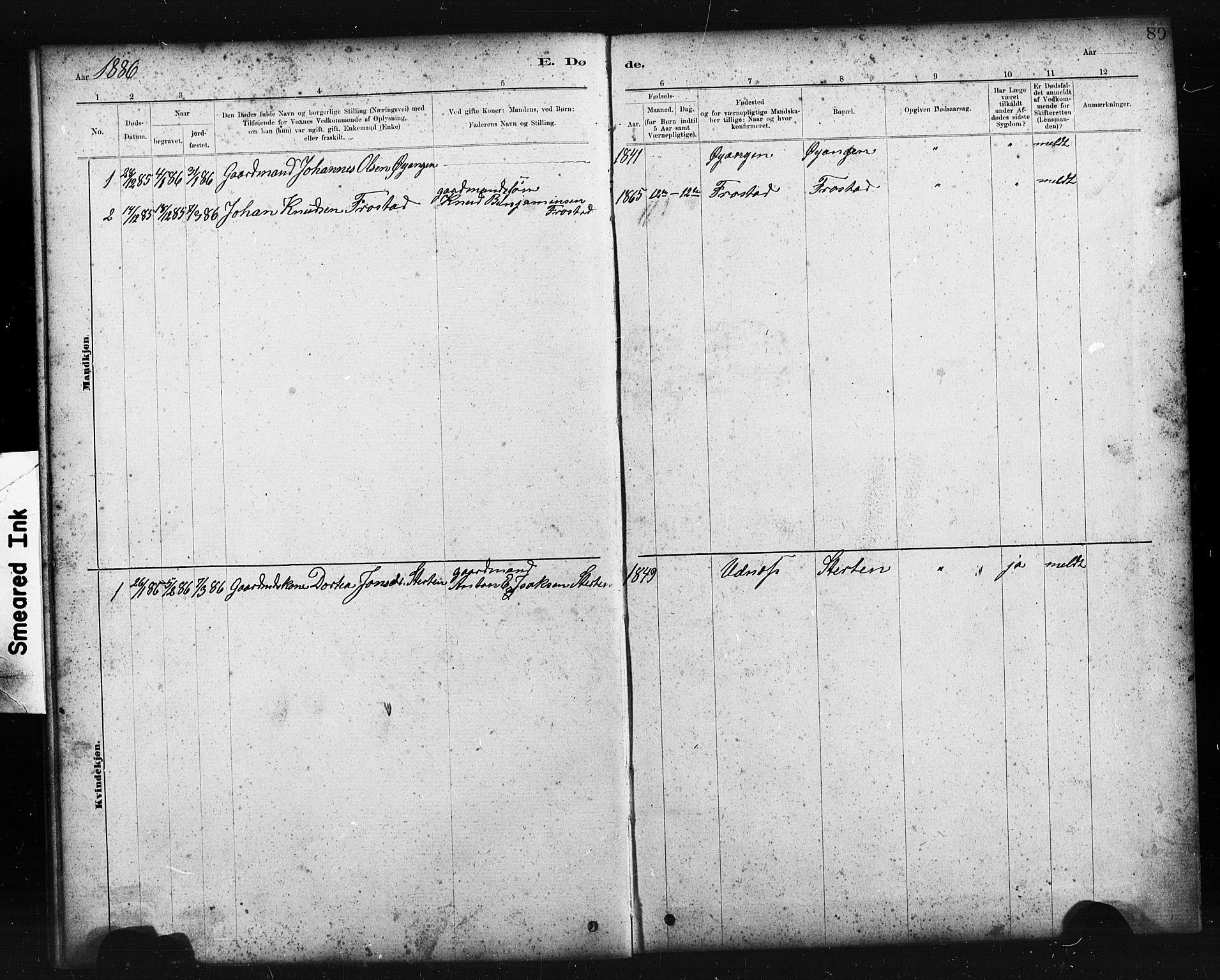 SAT, Ministerialprotokoller, klokkerbøker og fødselsregistre - Sør-Trøndelag, 663/L0761: Klokkerbok nr. 663C01, 1880-1893, s. 89