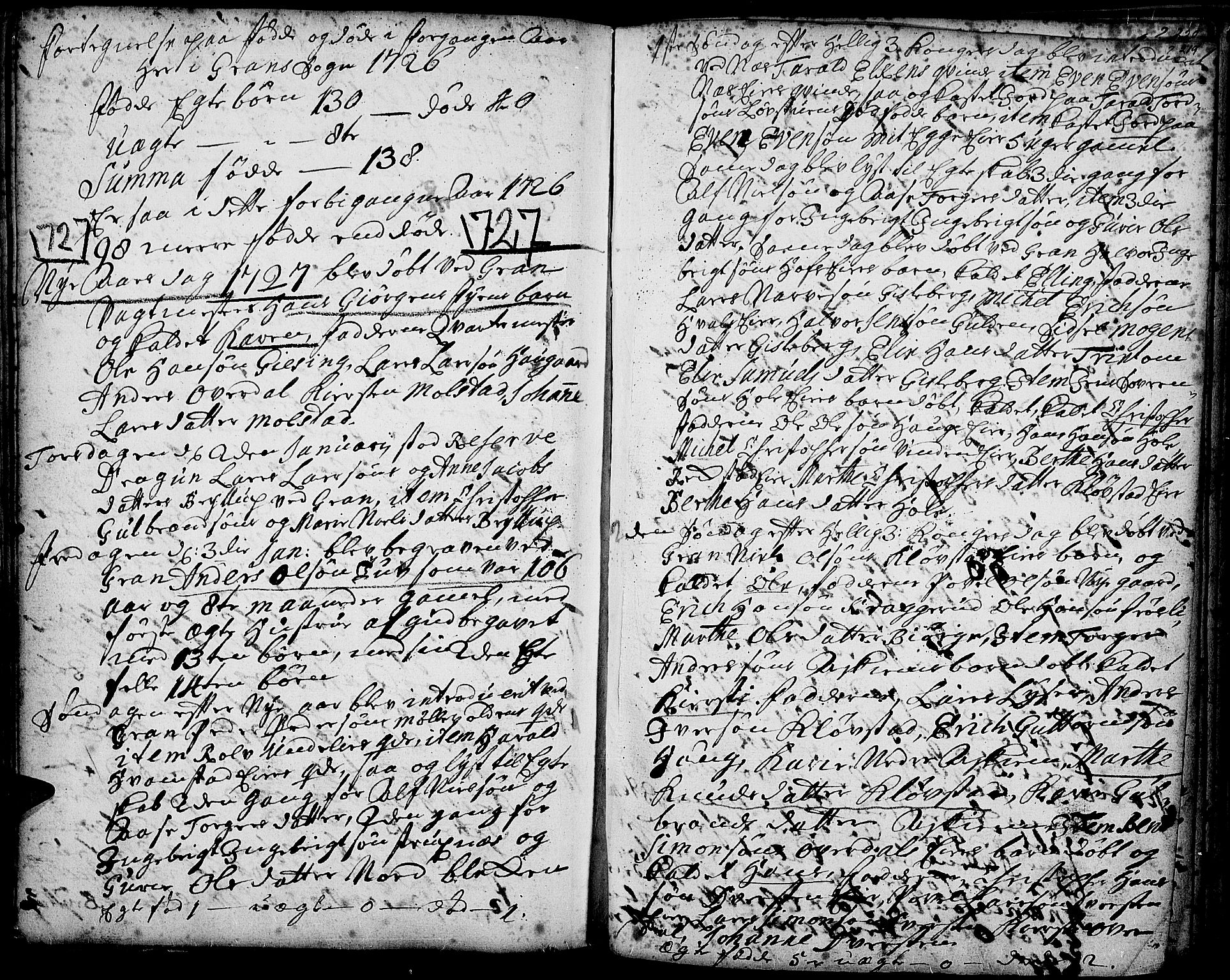 SAH, Gran prestekontor, Ministerialbok nr. 1, 1707-1731, s. 219