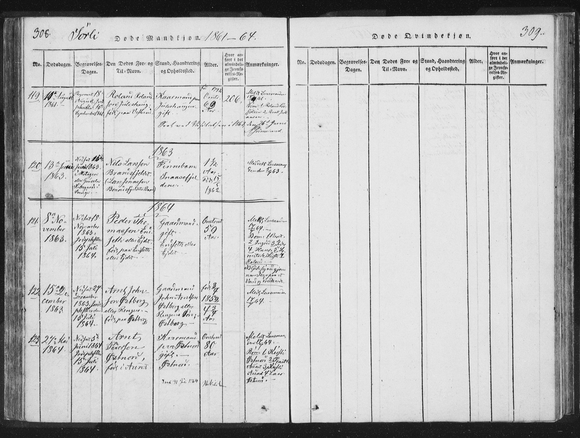 SAT, Ministerialprotokoller, klokkerbøker og fødselsregistre - Nord-Trøndelag, 755/L0491: Ministerialbok nr. 755A01 /2, 1817-1864, s. 308-309