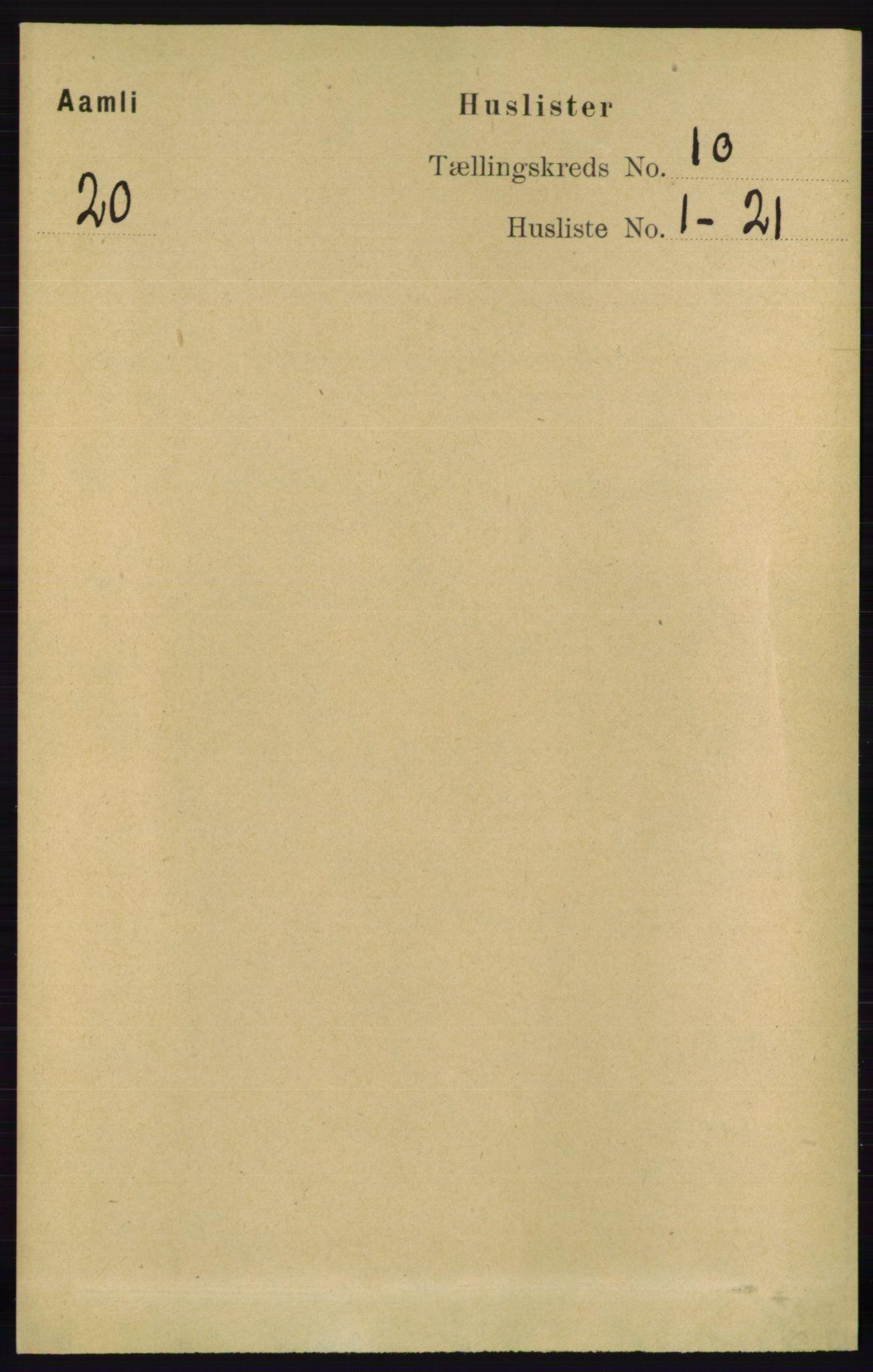 RA, Folketelling 1891 for 0929 Åmli herred, 1891, s. 1644