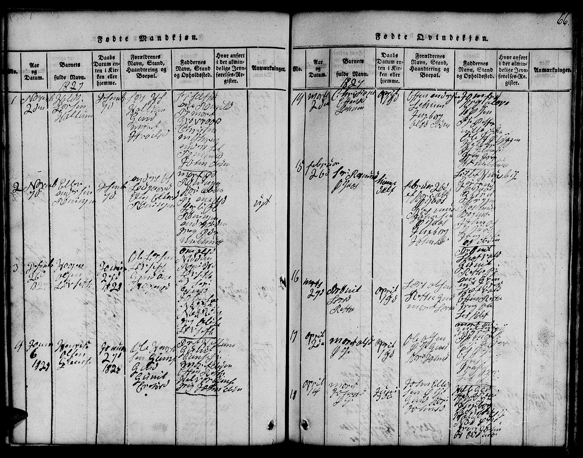 SAT, Ministerialprotokoller, klokkerbøker og fødselsregistre - Sør-Trøndelag, 691/L1092: Klokkerbok nr. 691C03, 1816-1852, s. 66