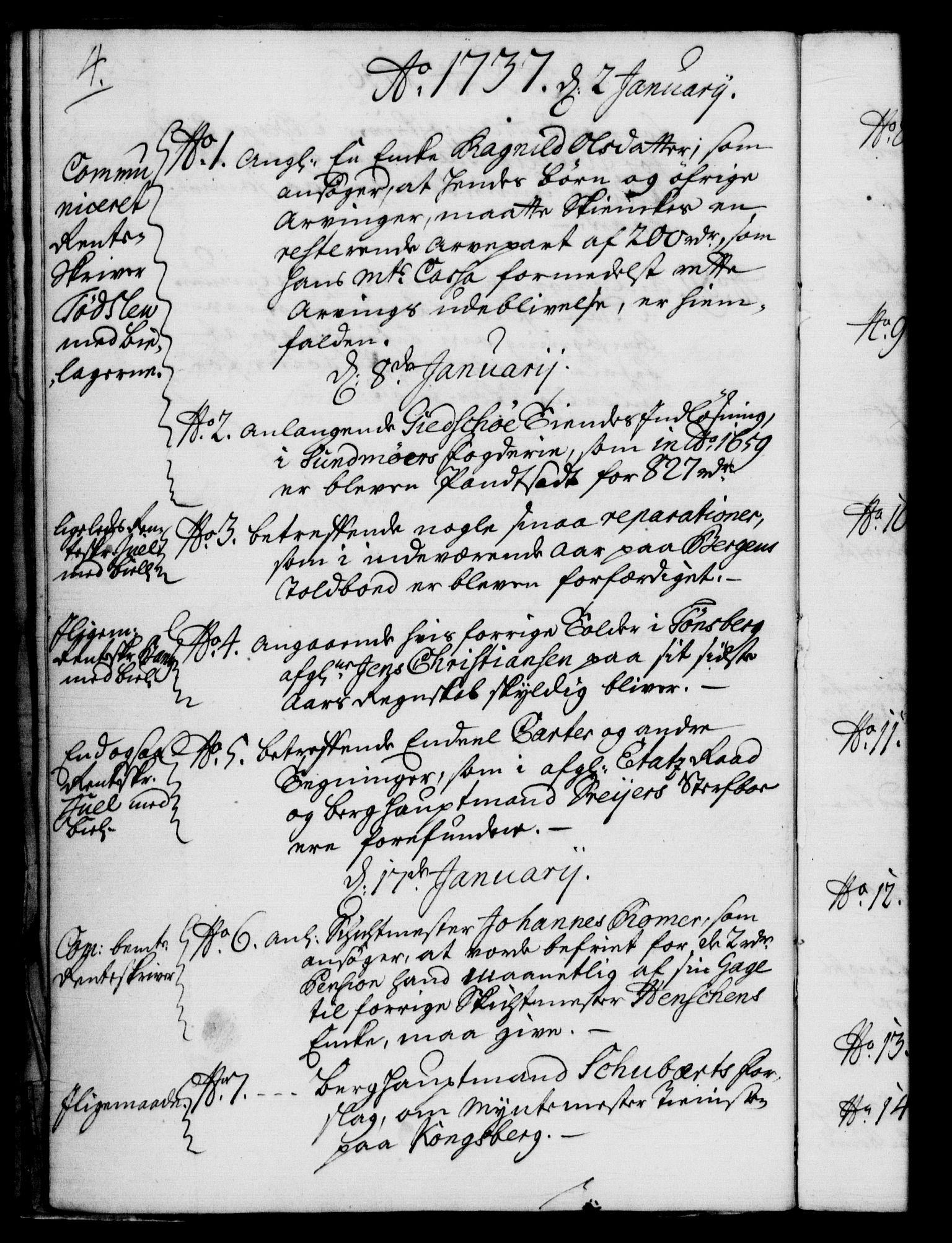 RA, Rentekammeret, Kammerkanselliet, G/Gf/Gfb/L0004: Register til norske relasjons- og resolusjonsprotokoller (merket RK 52.99), 1736-1743, s. 4